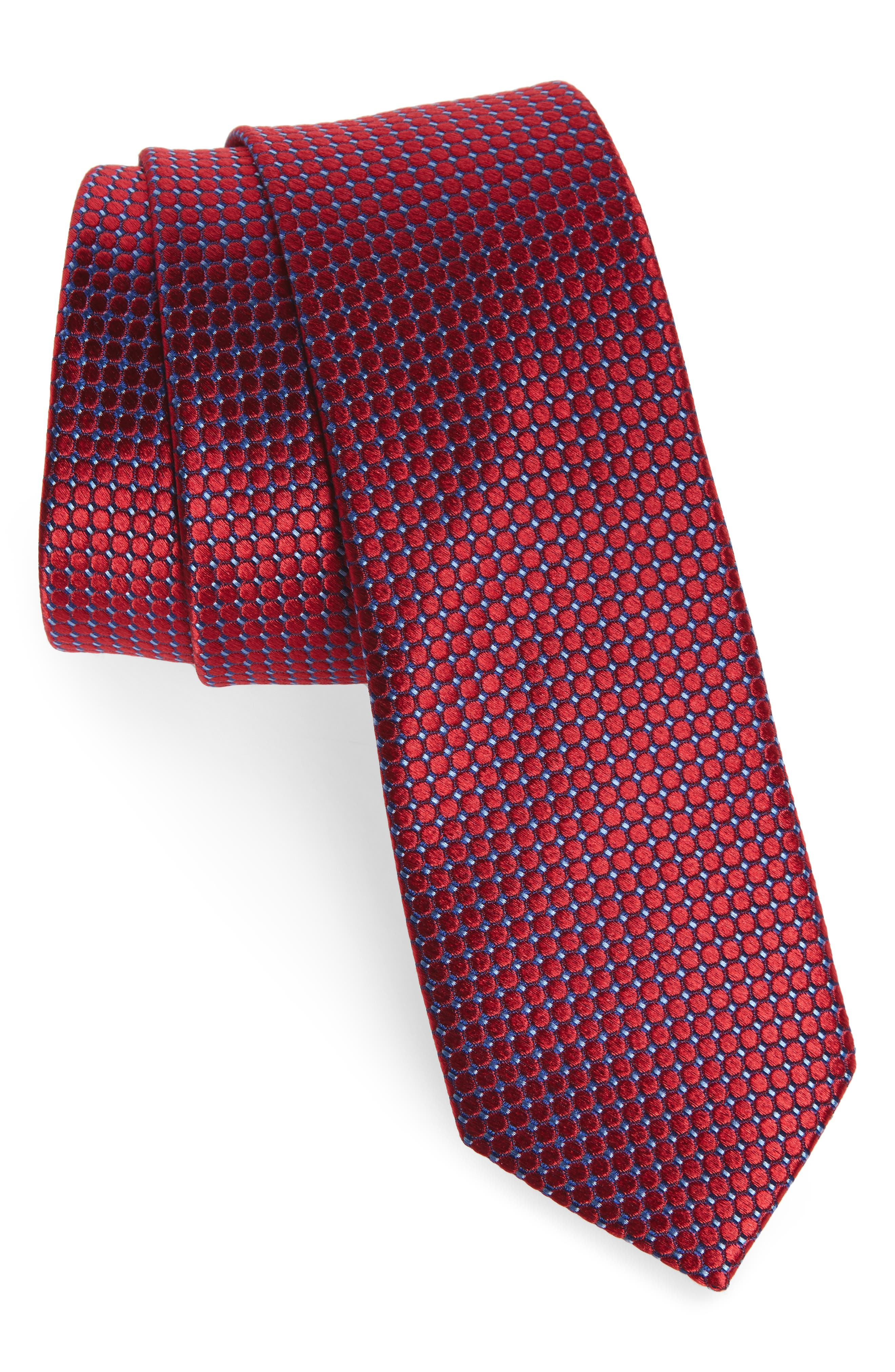 Neat Grid Silk Tie,                             Main thumbnail 1, color,                             Red