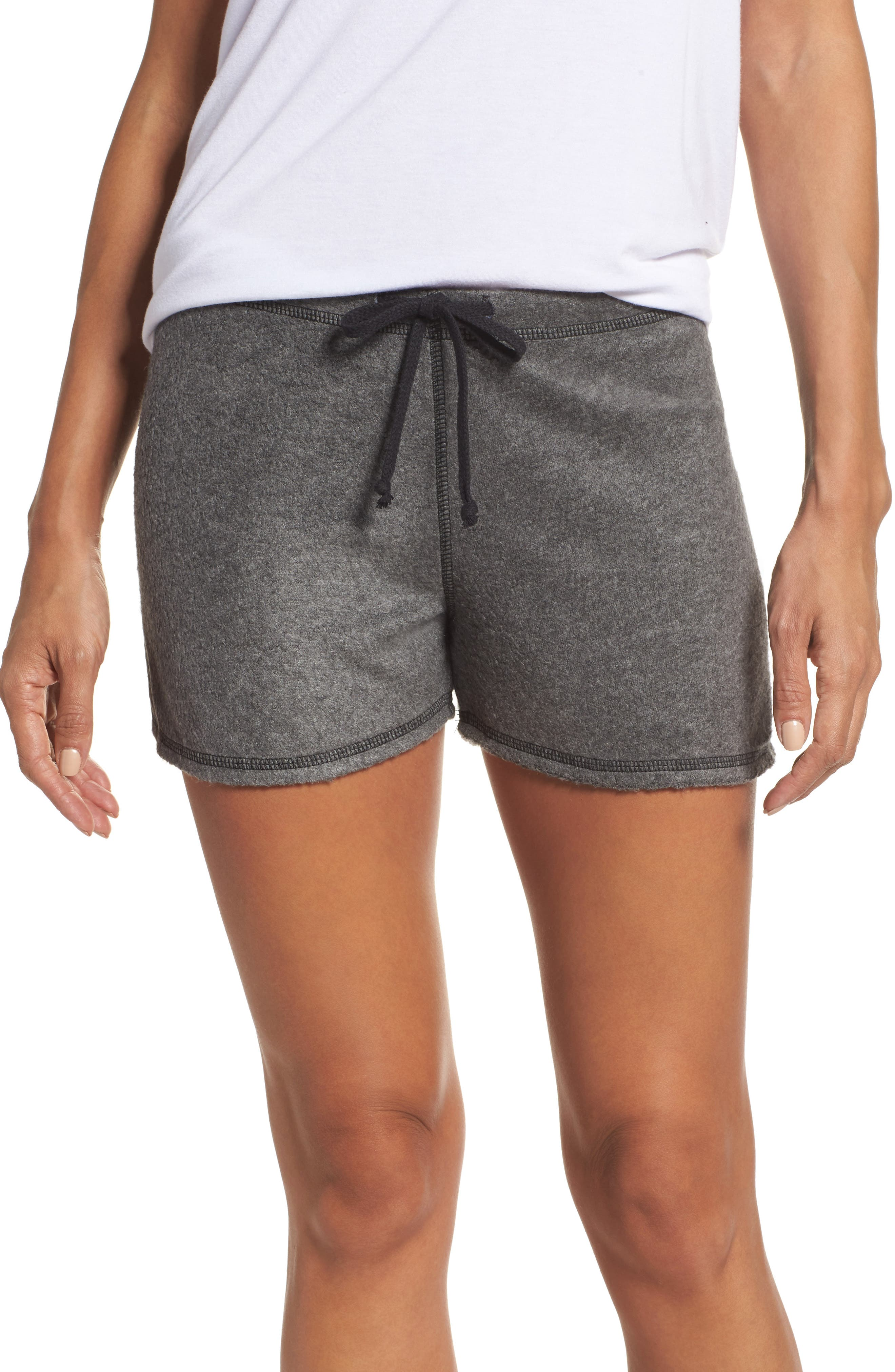 Traci Fleece Lounge Shorts,                         Main,                         color, Charcoal