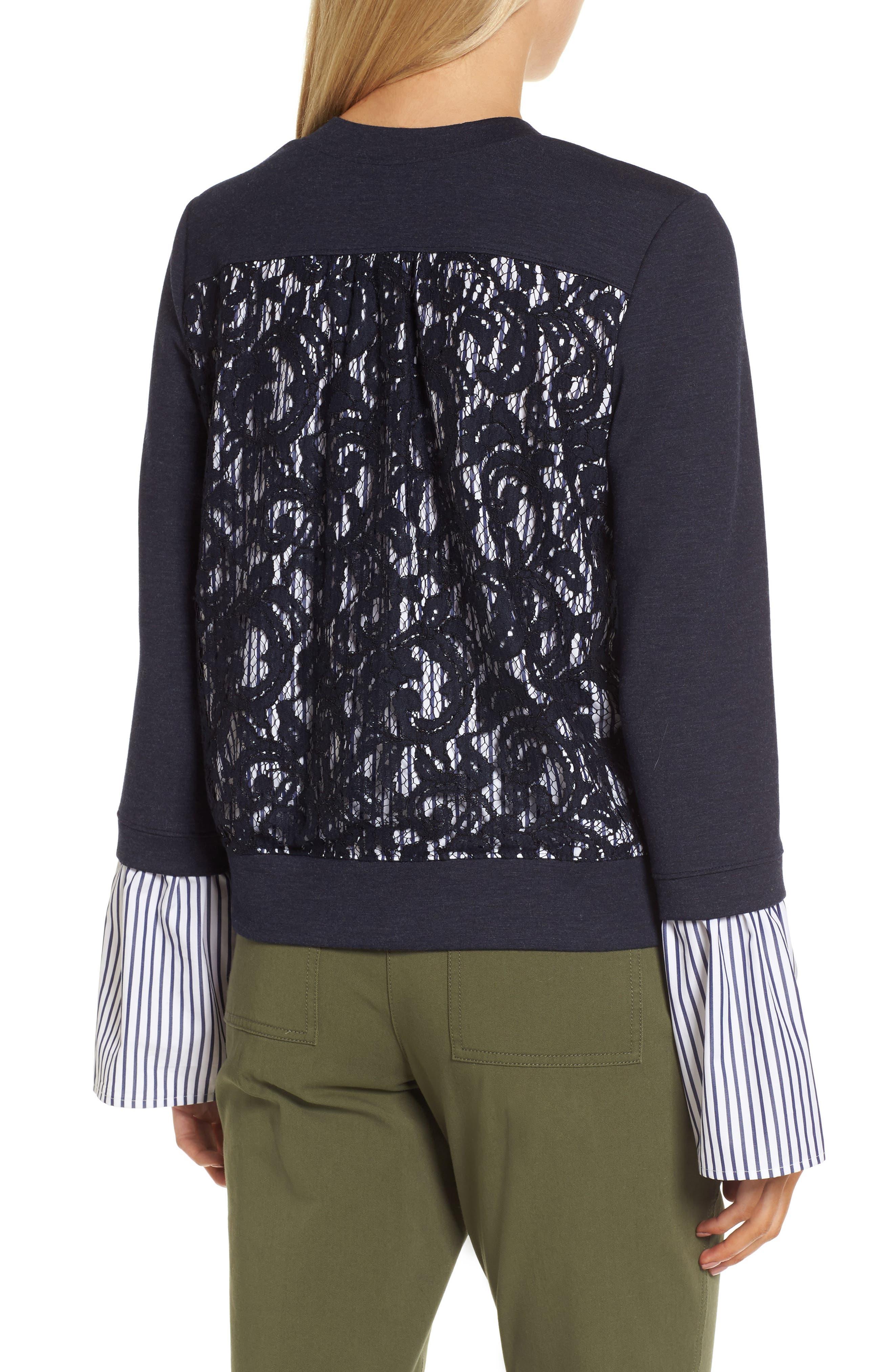 Poplin & Lace Crewneck Sweatshirt,                             Alternate thumbnail 2, color,                             Navy Night