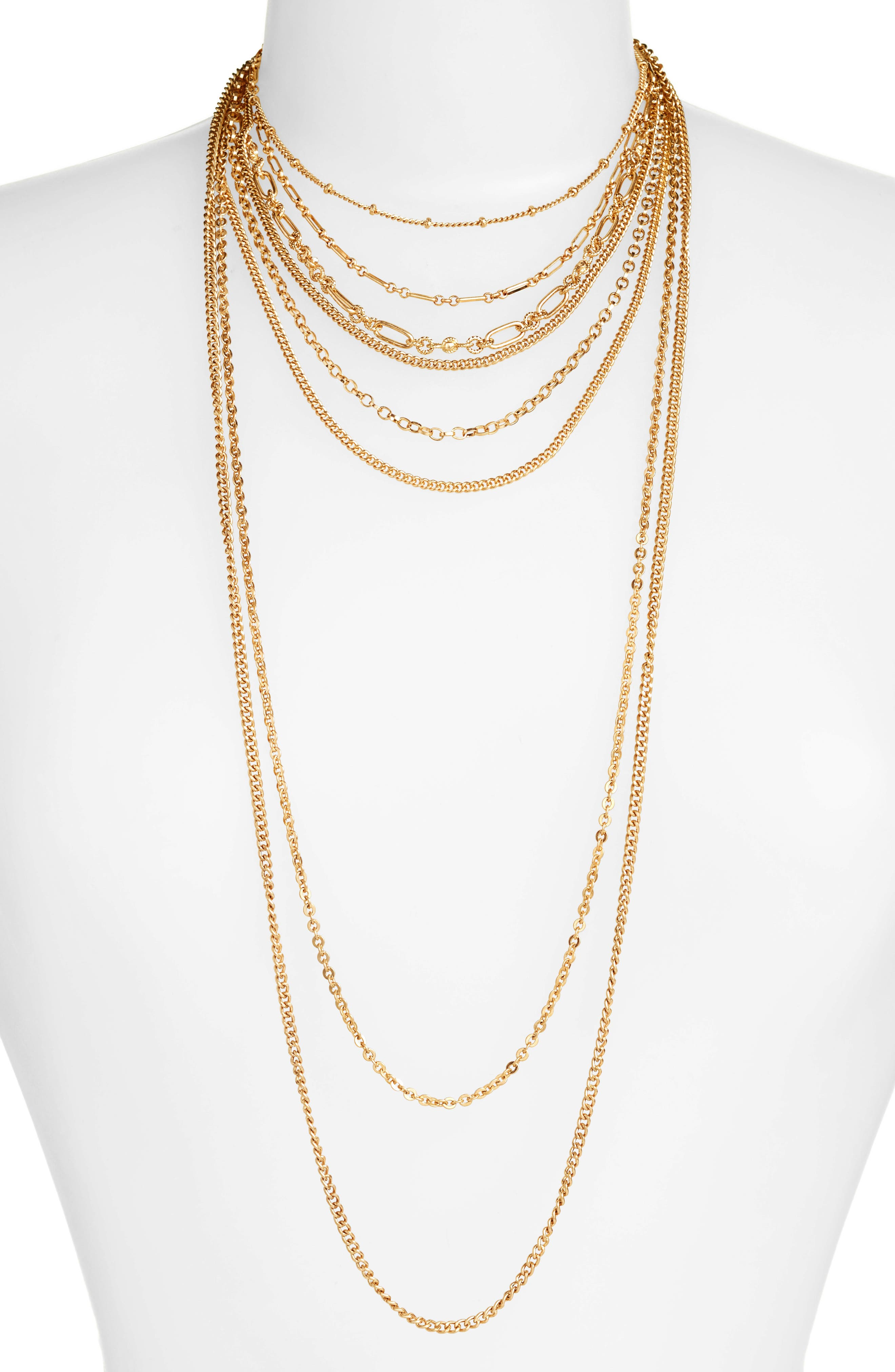 Treasure & Bond Multistrand Textured Chain Necklace