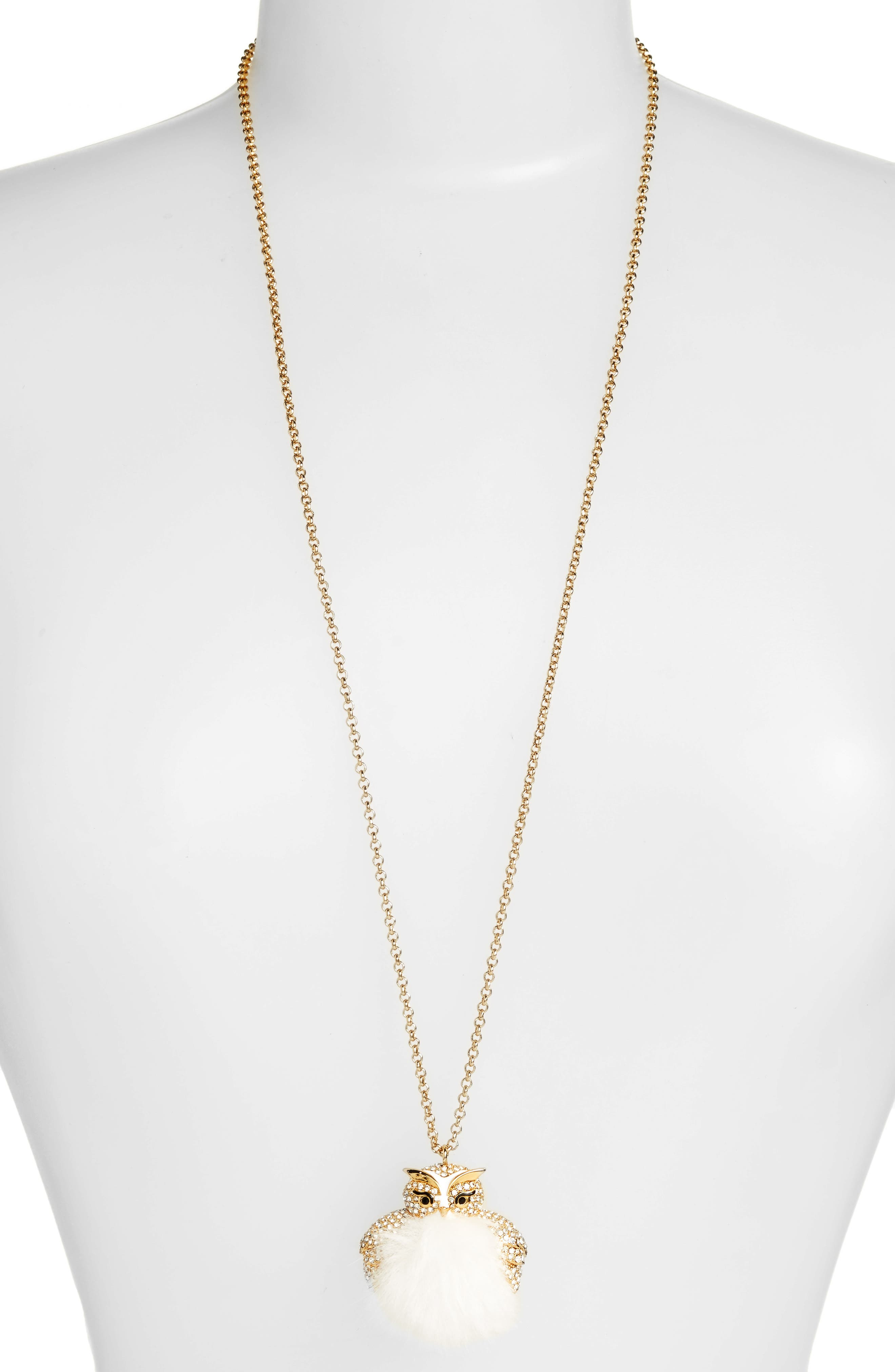 kate spade new york star bright owl pendant necklace