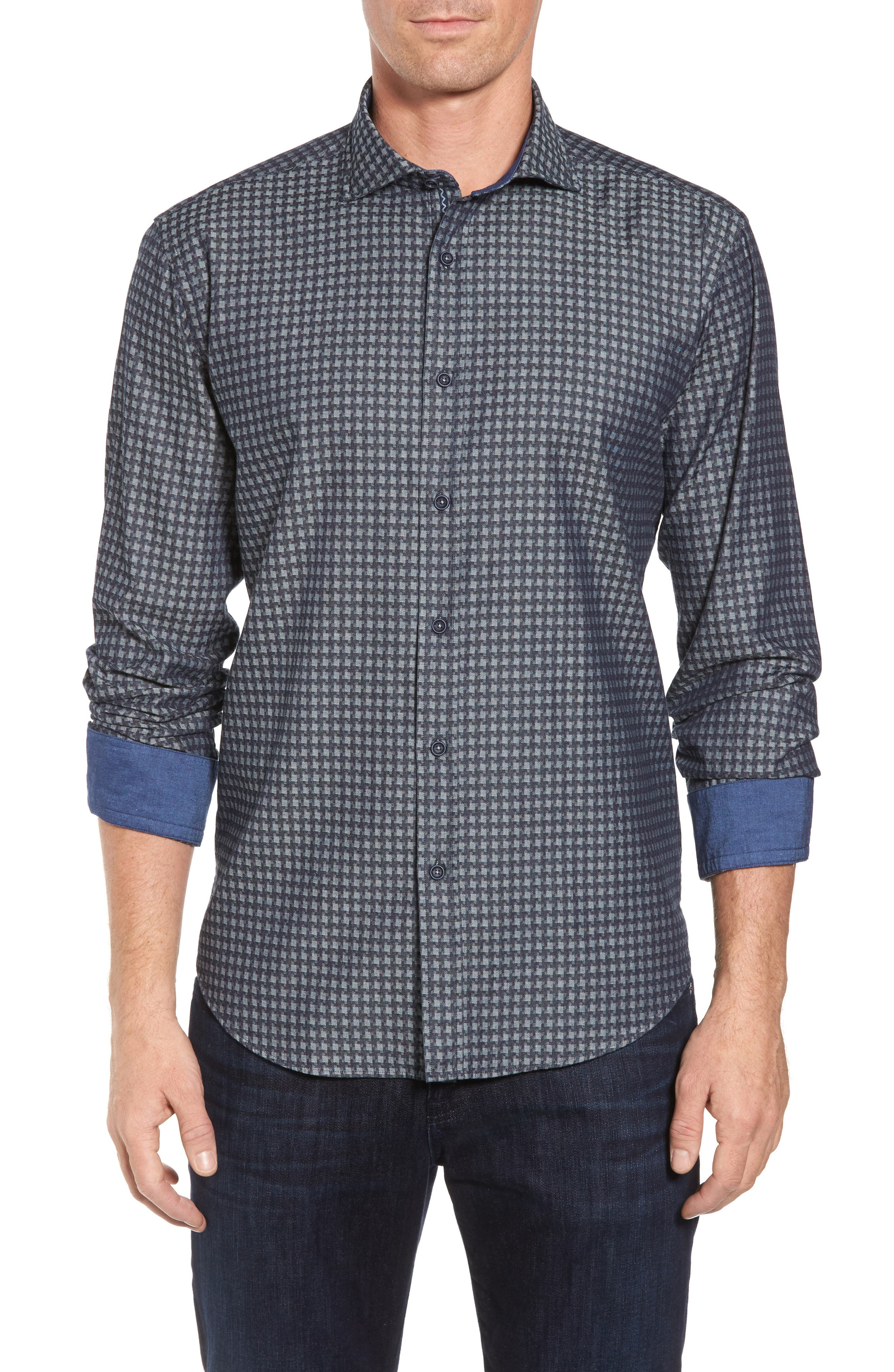 Shaped Fit Houndstooth Print Sport Shirt,                             Main thumbnail 1, color,                             Navy