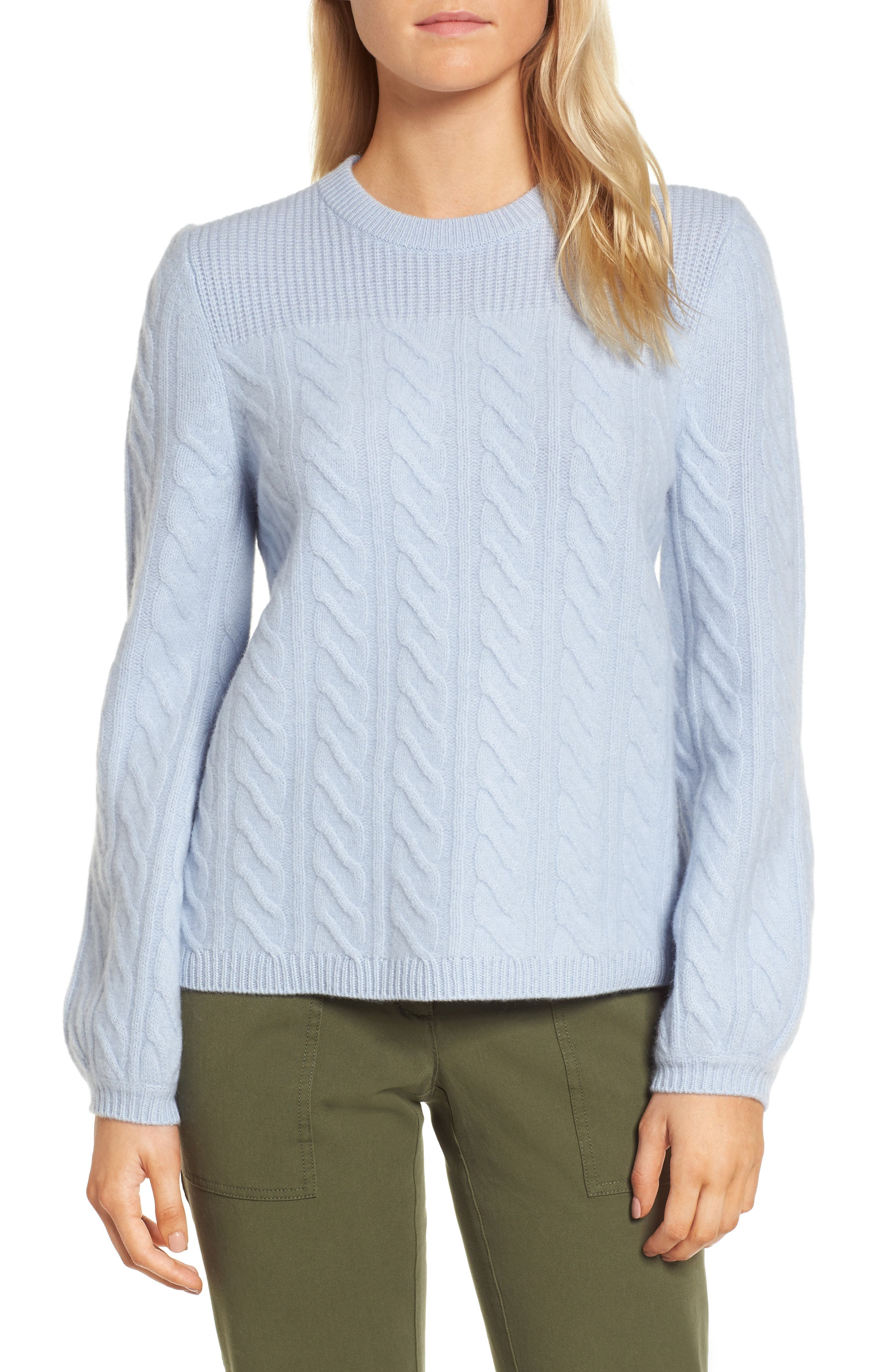 Cable Cashmere Sweater,                         Main,                         color, Blue Eventide