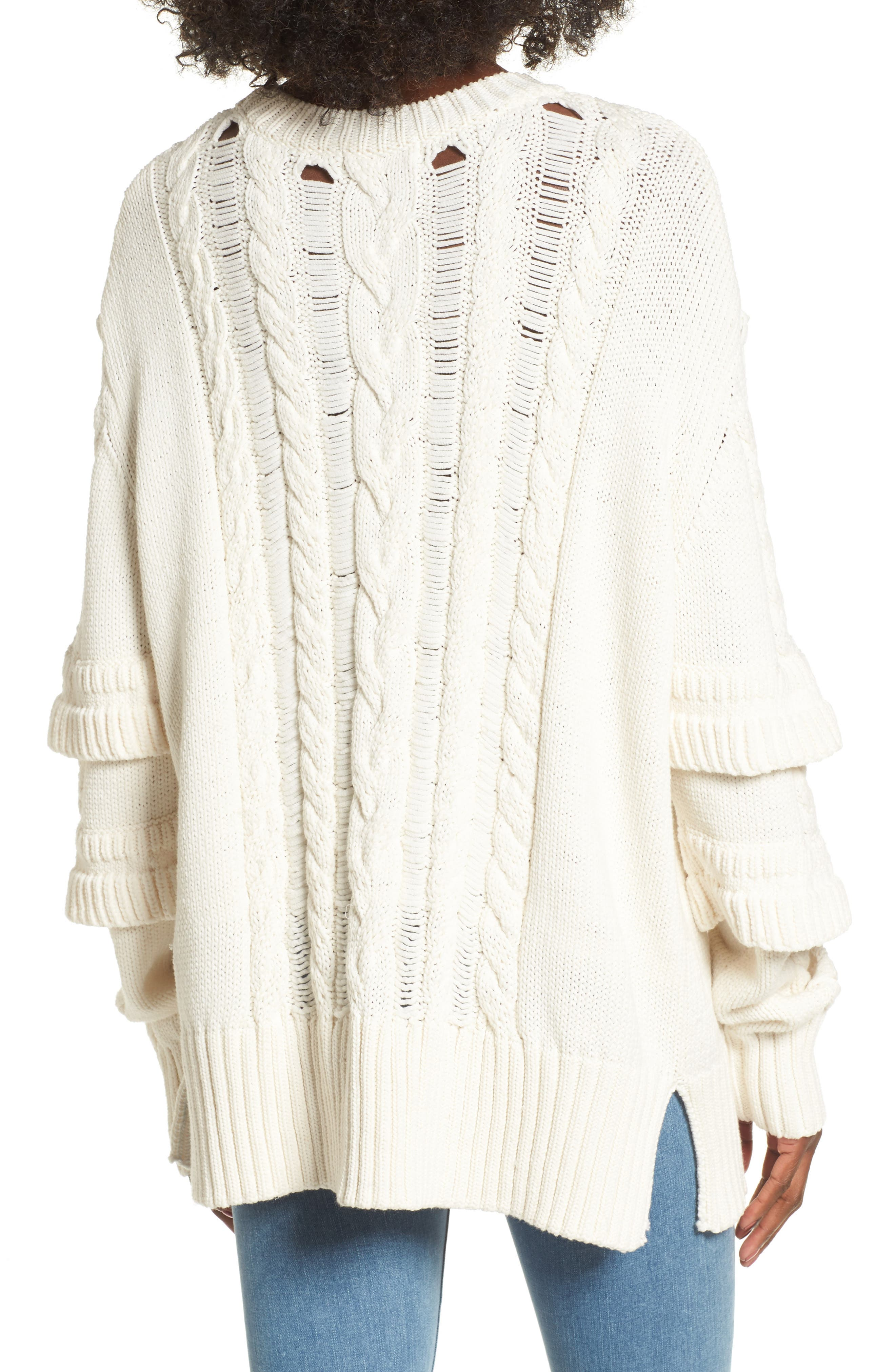Ruffle Sleeve Cable Knit Sweater,                             Alternate thumbnail 2, color,                             Just For Kicks/ Ivory
