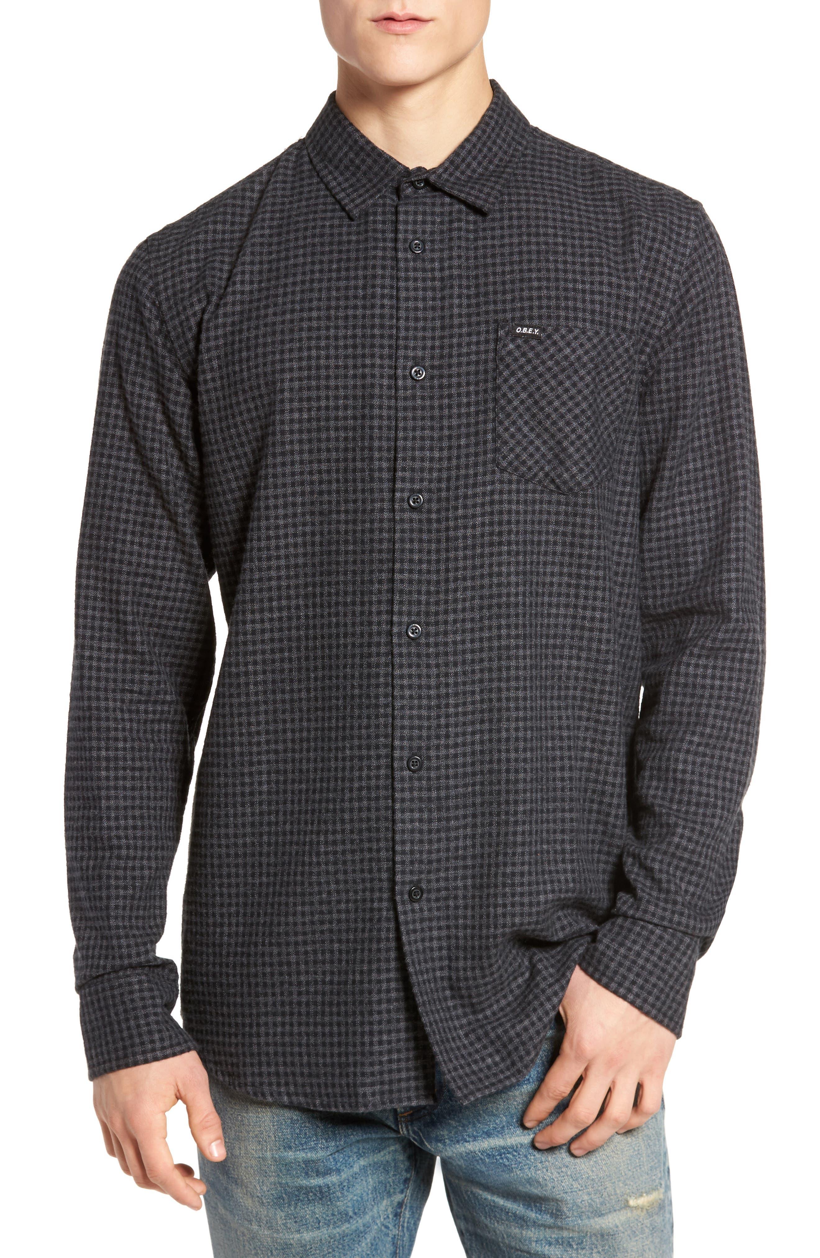 Outsider Microcheck Sport Shirt,                         Main,                         color, Black Multi