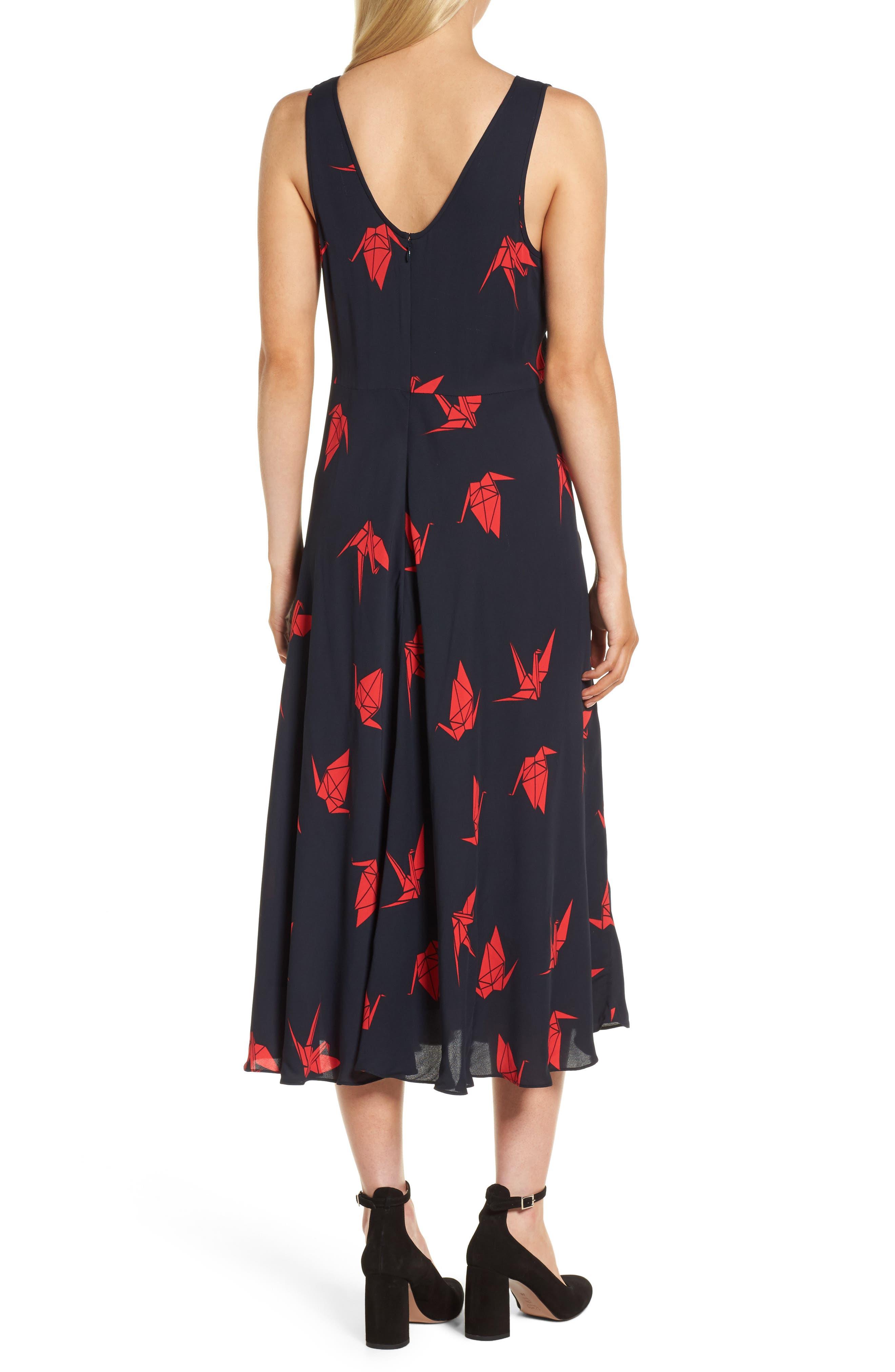 Print Midi Dress,                             Alternate thumbnail 2, color,                             Navy Night Paper Cranes