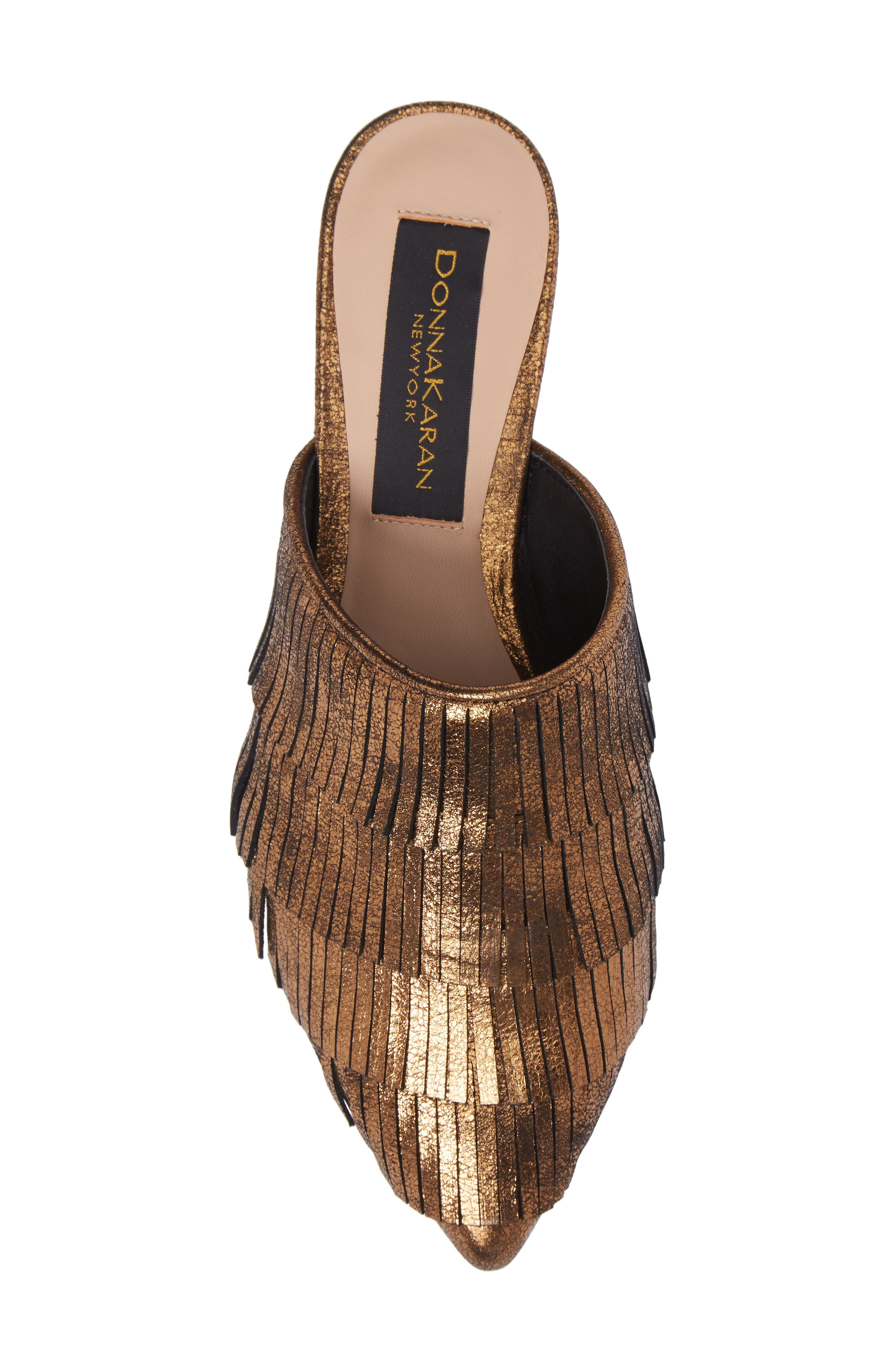Donna Karan Paisley Fringe Mule,                             Alternate thumbnail 5, color,                             Brass Leather