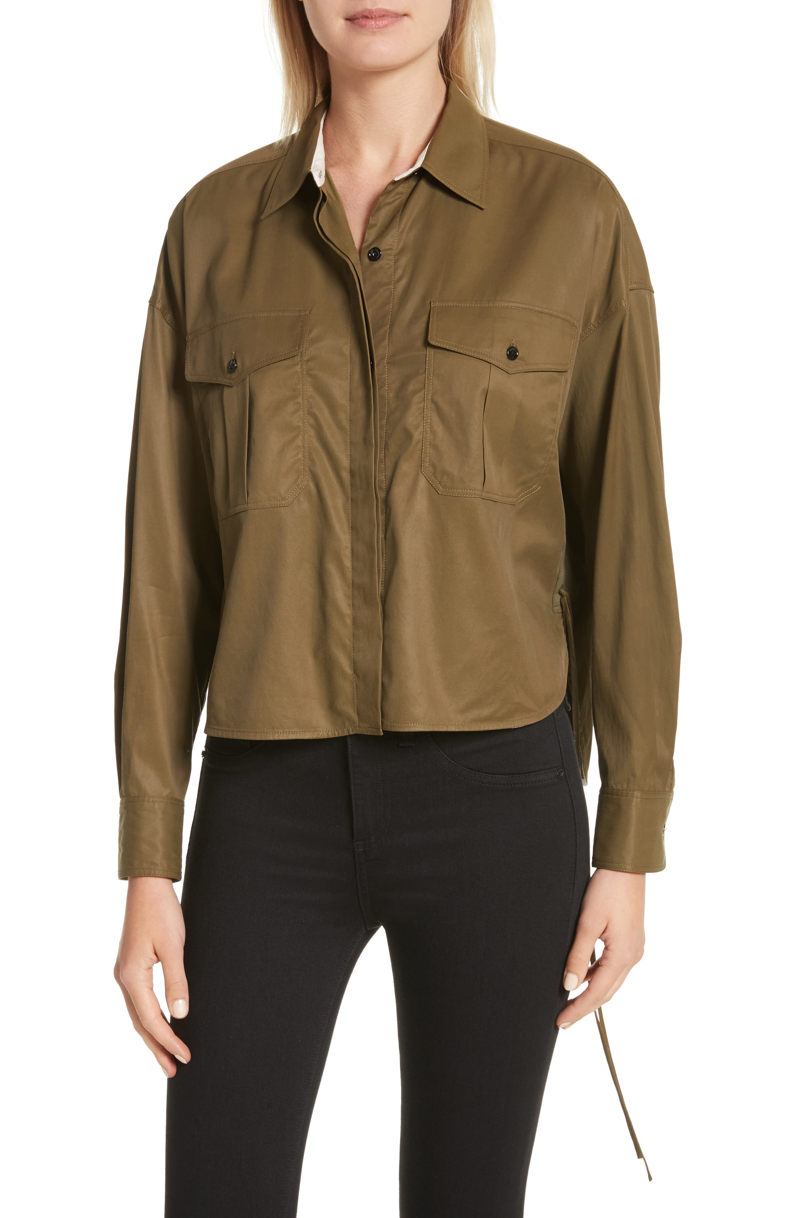 Mason Crop Shirt,                             Main thumbnail 1, color,                             Army Green