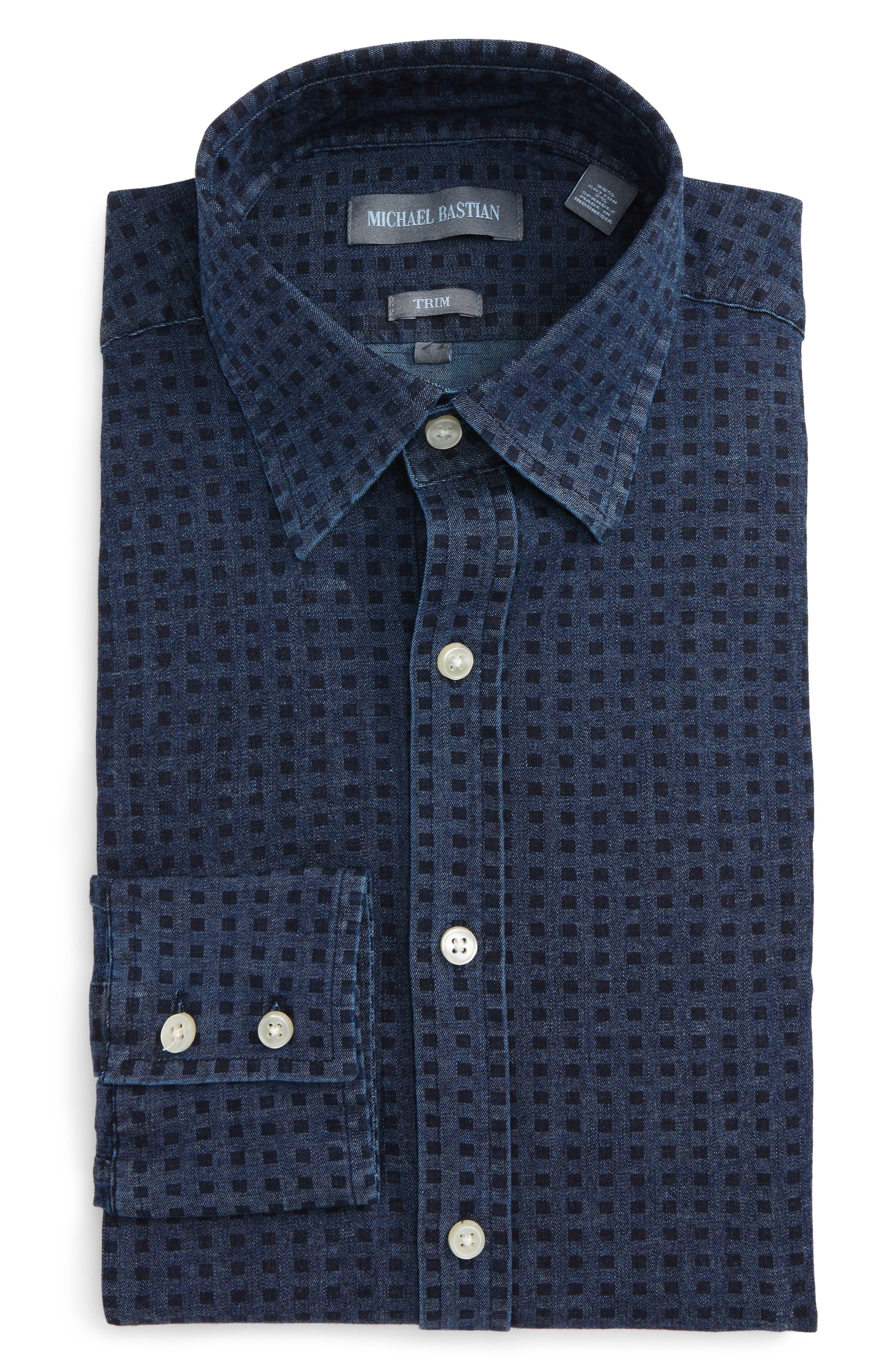 Michael Bastian Dot Denim Dress Shirt