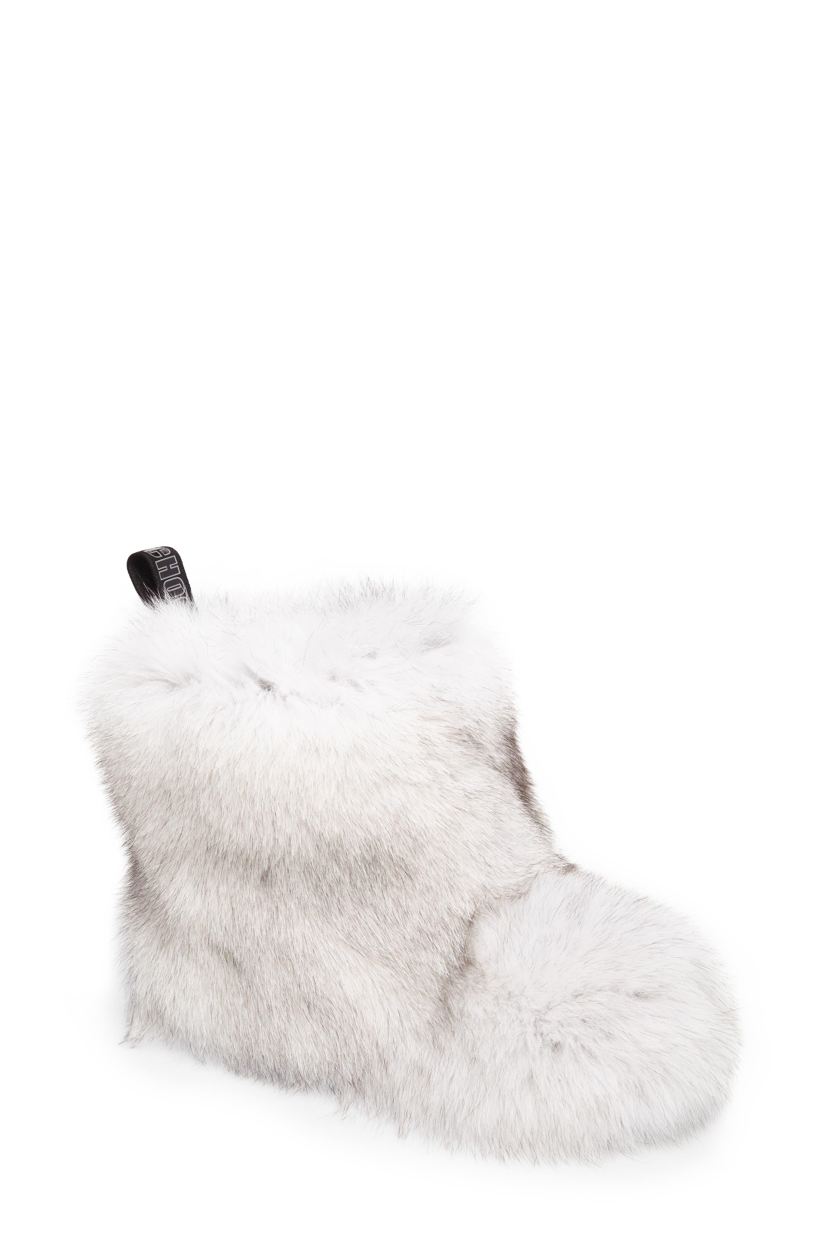 Dalton Genuine Fox & Rabbit Fur Bootie,                             Main thumbnail 1, color,                             White