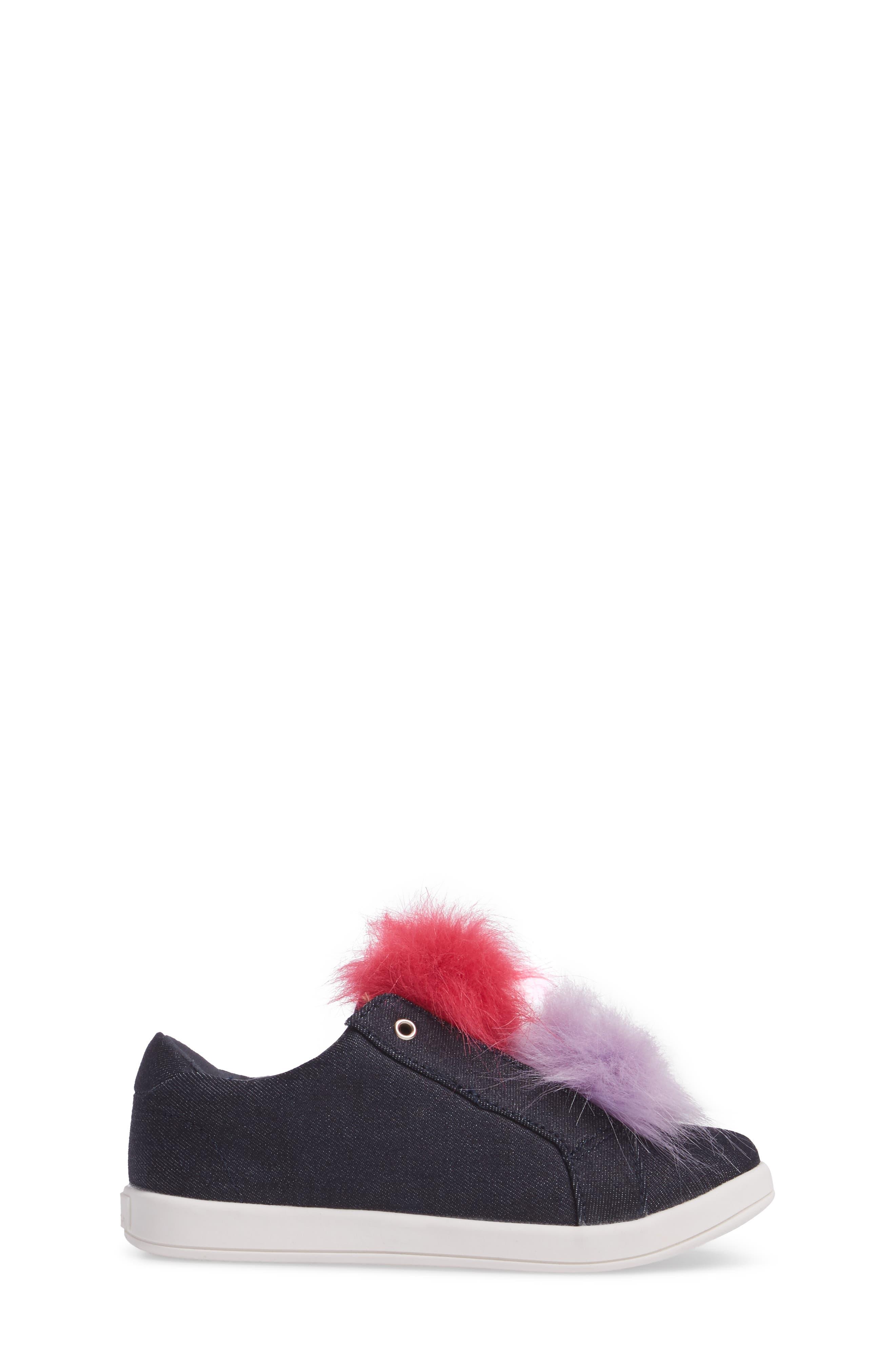 Cynthia Leya Faux Fur Pompom Slip-On Sneaker,                             Alternate thumbnail 3, color,                             Denim