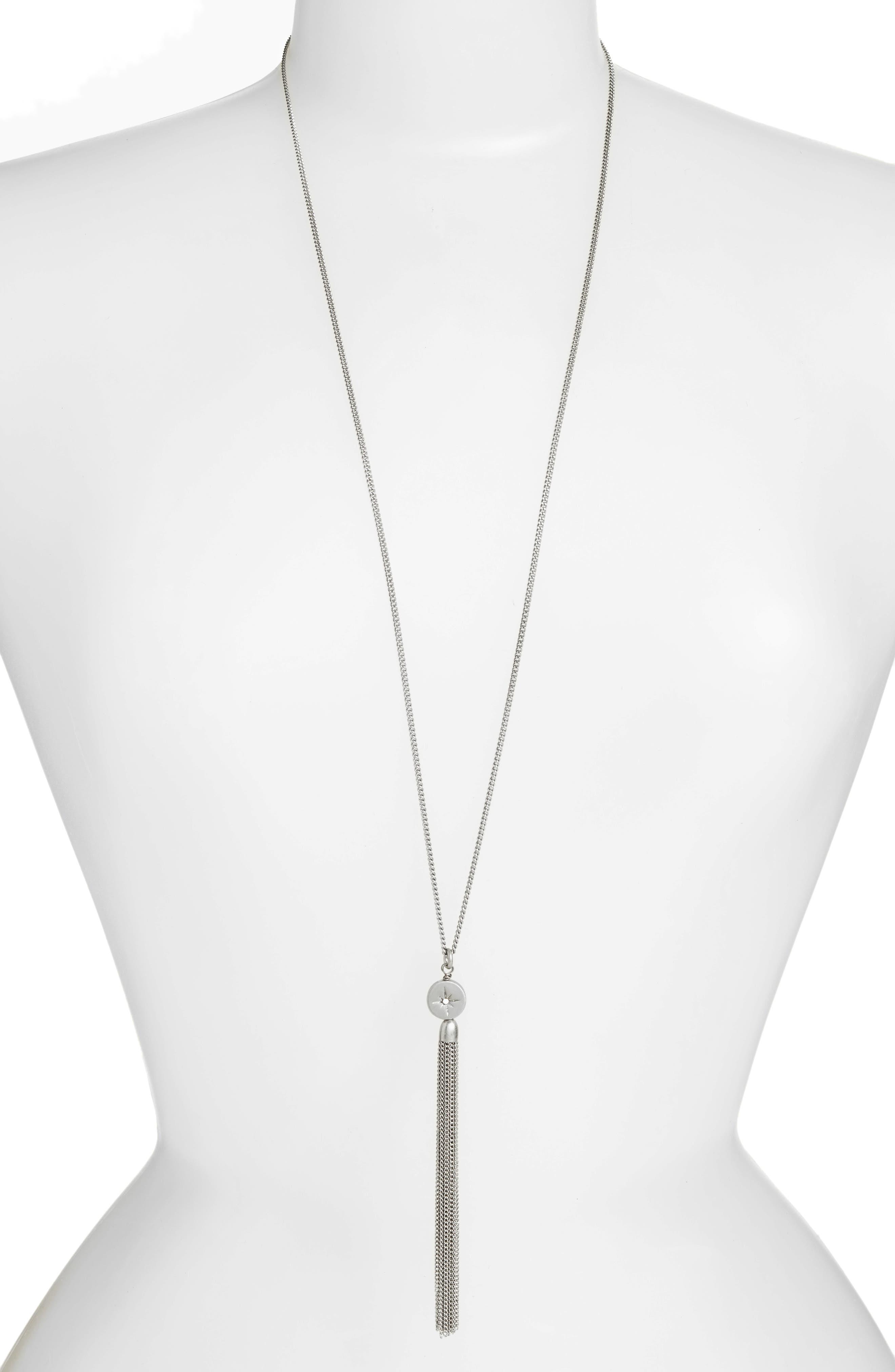 Star Disc Tassel Pendant Necklace,                             Main thumbnail 1, color,                             Clear- Rhodium