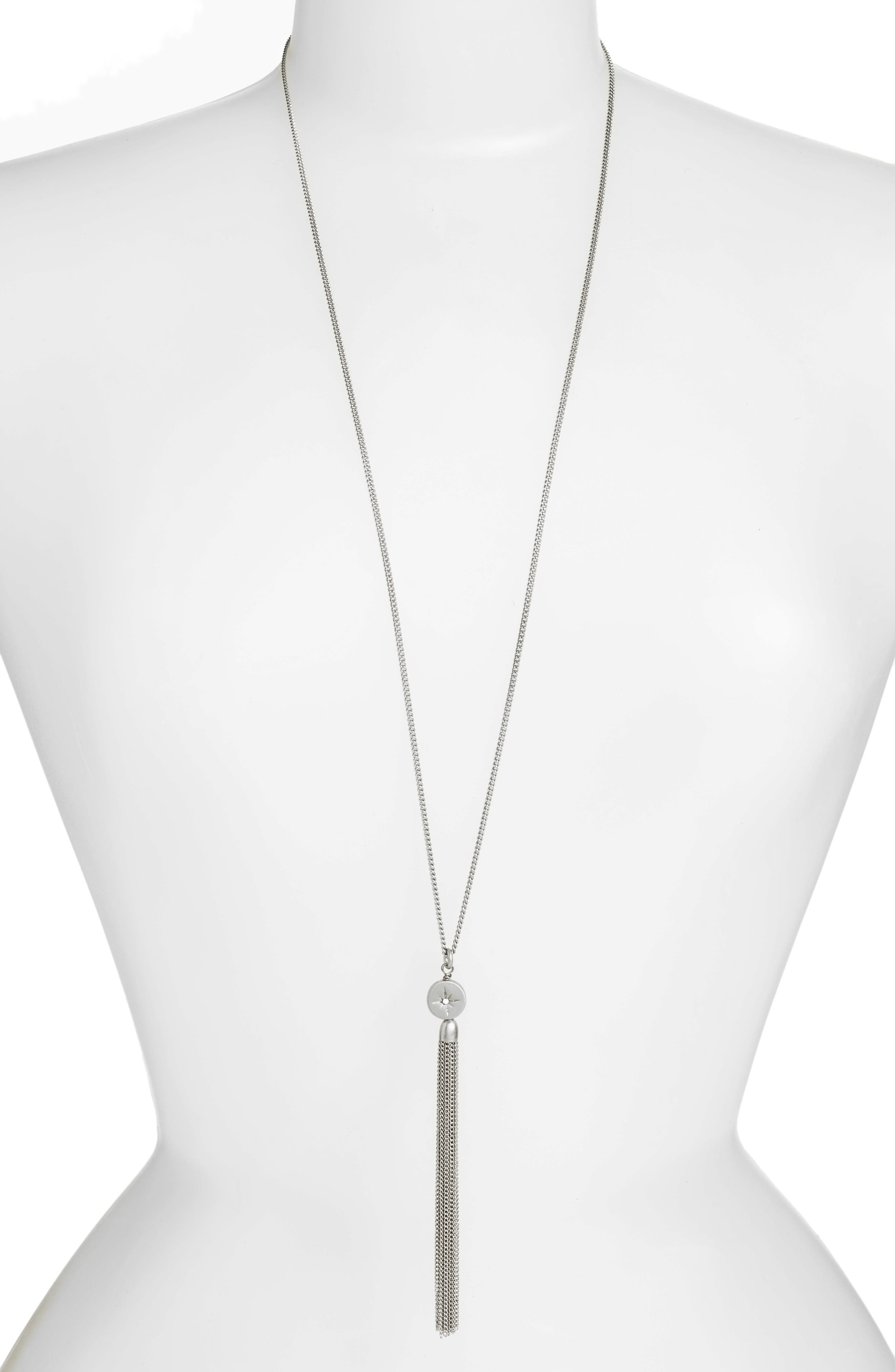 Star Disc Tassel Pendant Necklace,                         Main,                         color, Clear- Rhodium