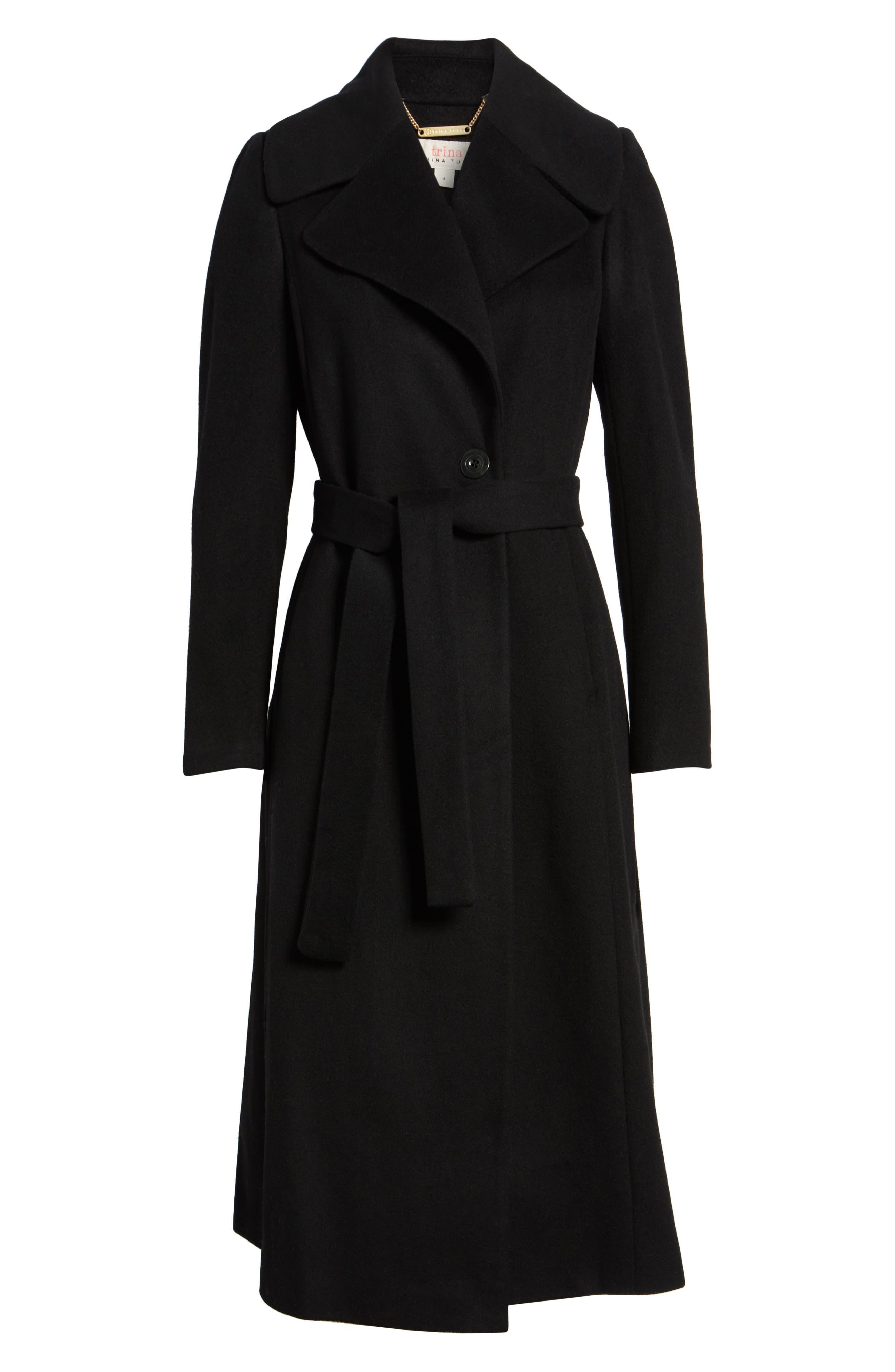 Trina Turk Kristen Wool Blend Peacoat,                         Main,                         color, Black