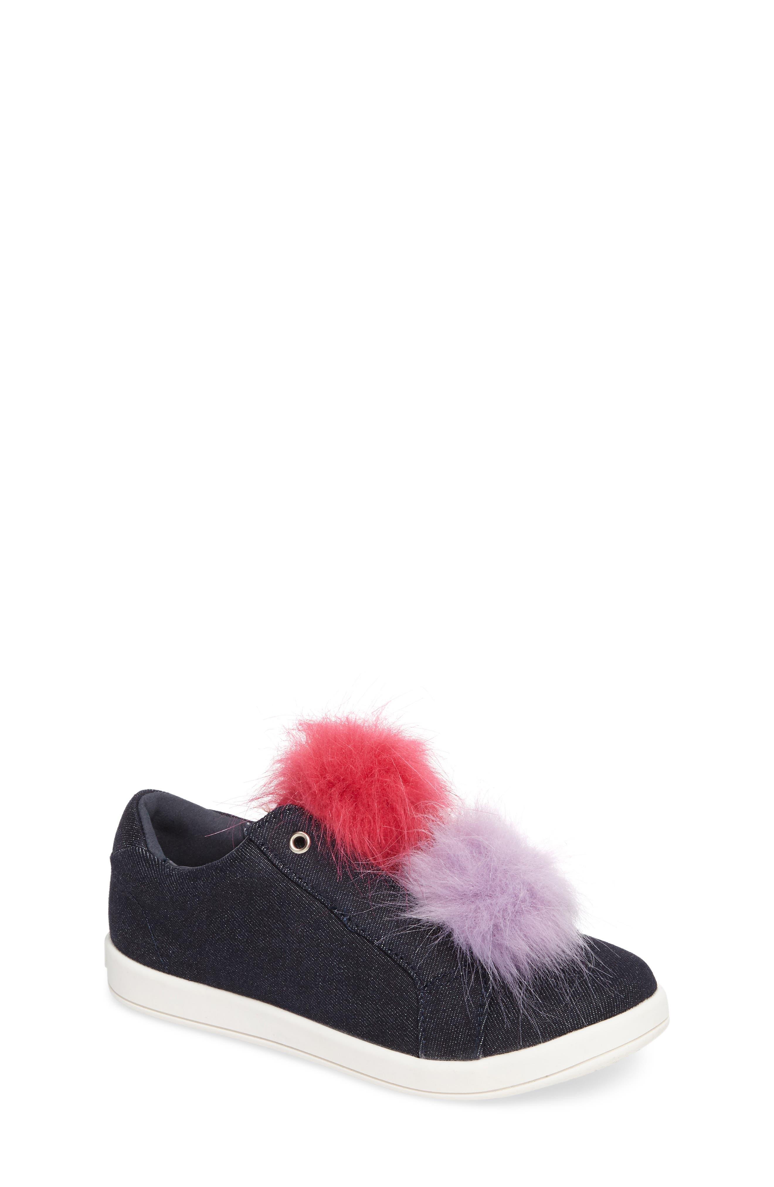 Cynthia Leya Faux Fur Pompom Slip-On Sneaker,                             Main thumbnail 1, color,                             Denim