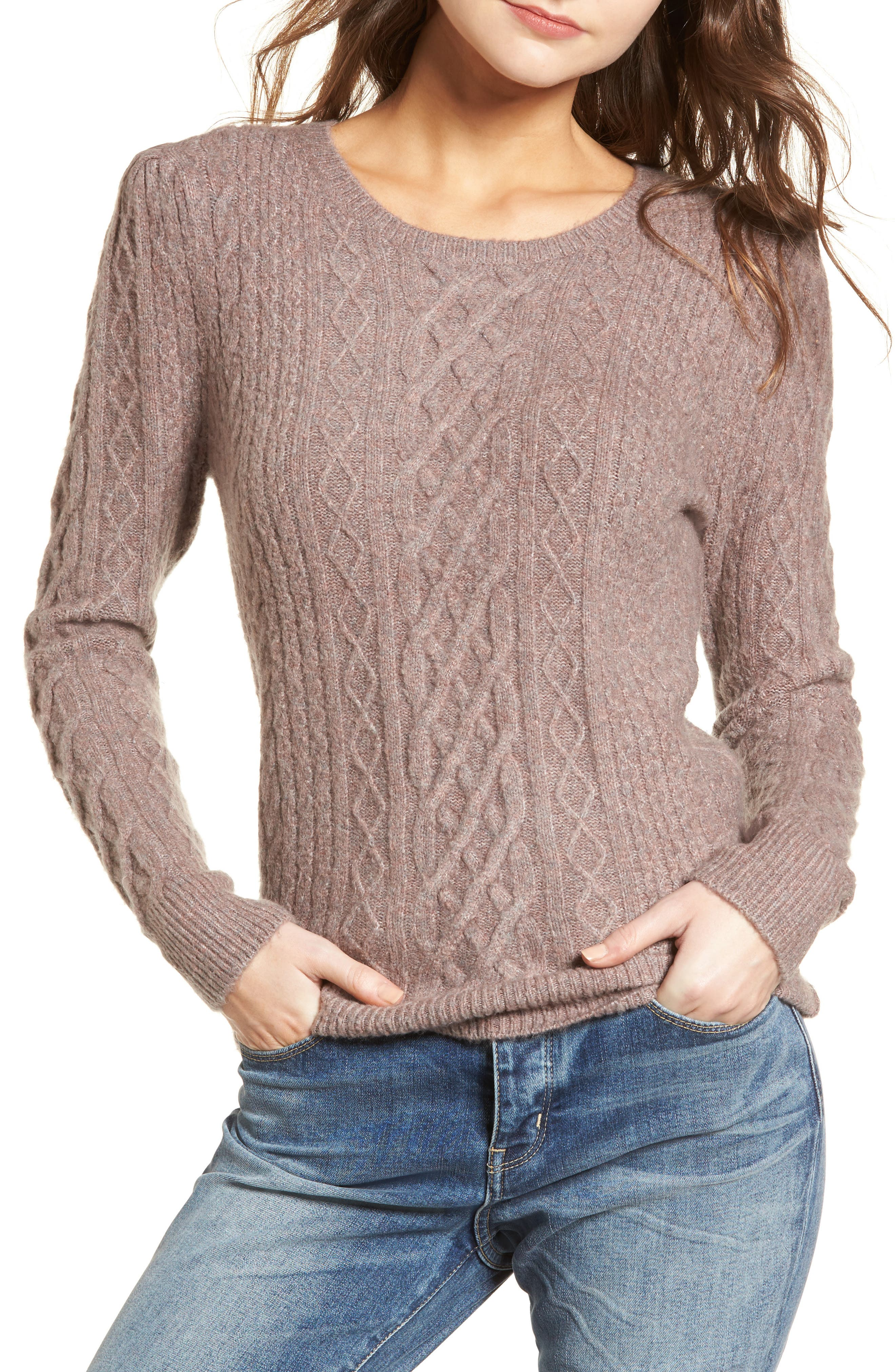 Compact Cable Sweater,                             Main thumbnail 1, color,                             Tan Dusk Rainbow Multi