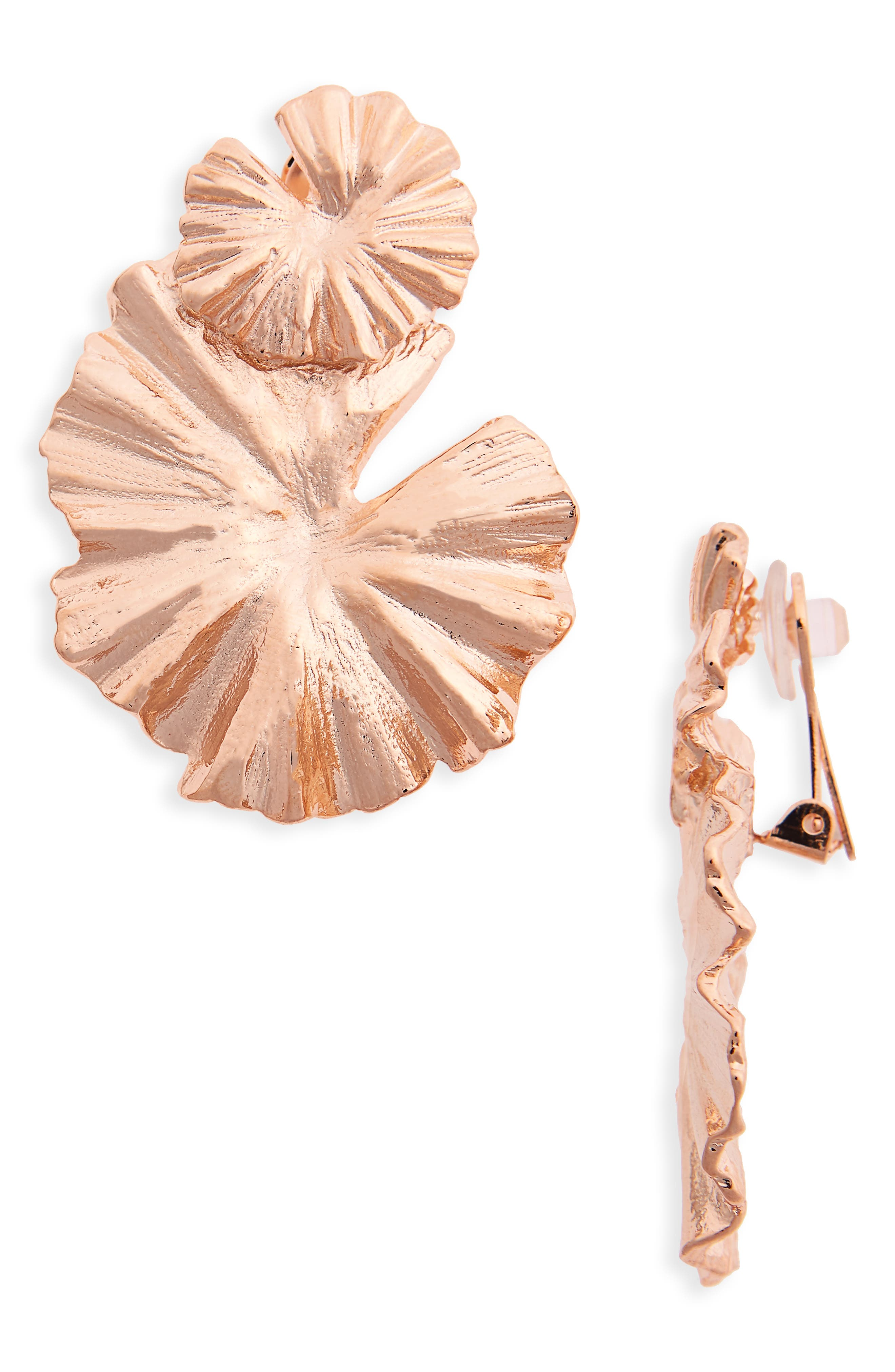 Wildflower Clip Earrings,                             Main thumbnail 1, color,                             Rose Gold