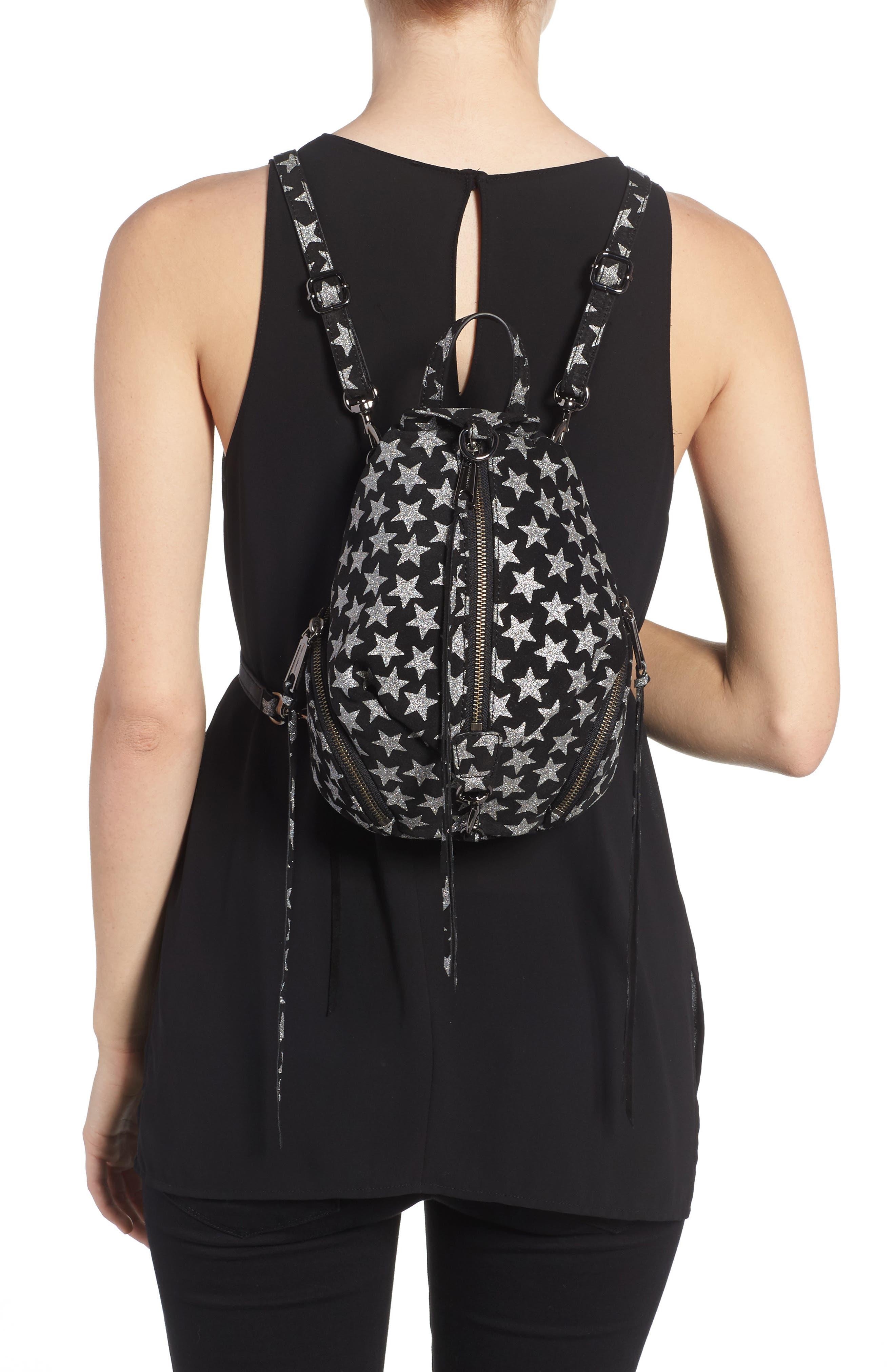 Mini Julian Metallic Star Nubuck Leather Convertible Backpack,                             Alternate thumbnail 2, color,                             Black