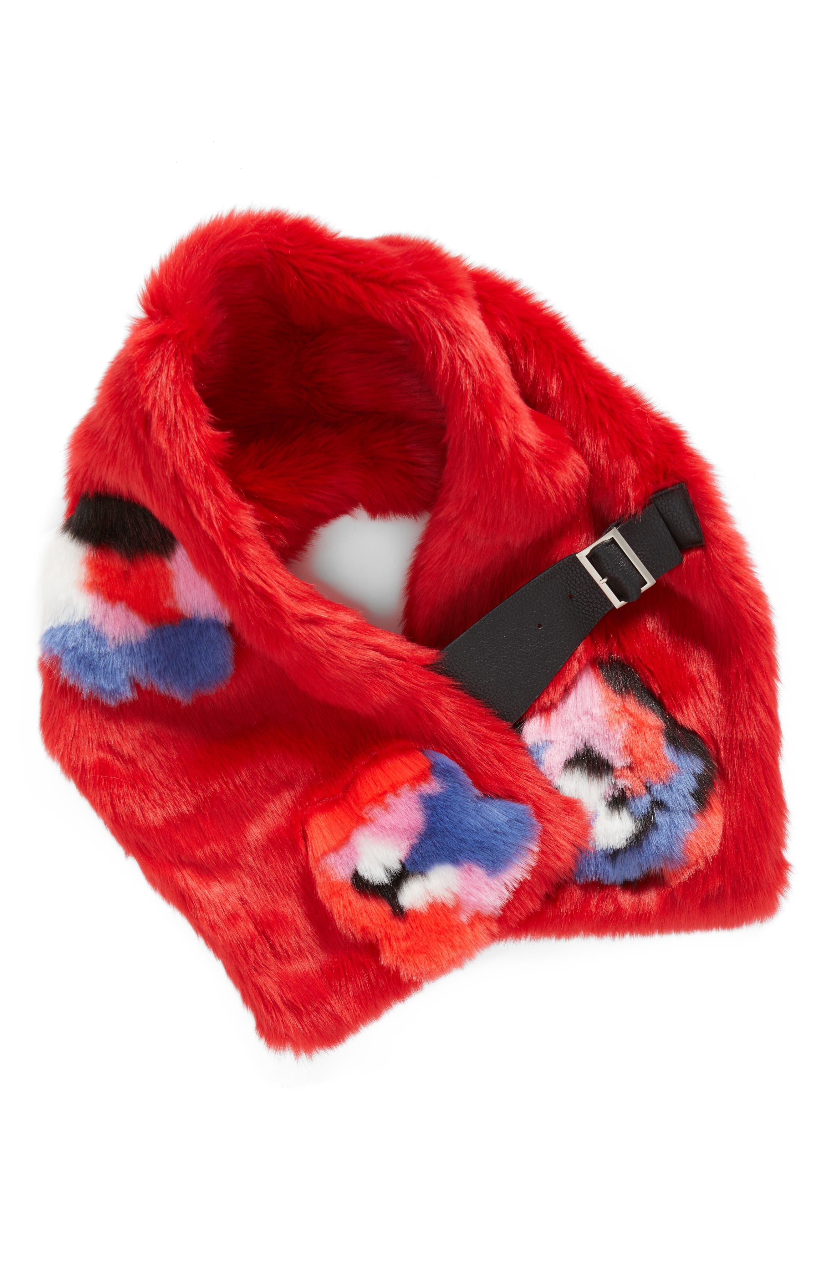 Buckled Faux Fur Scarf,                             Alternate thumbnail 3, color,                             Floral Fur