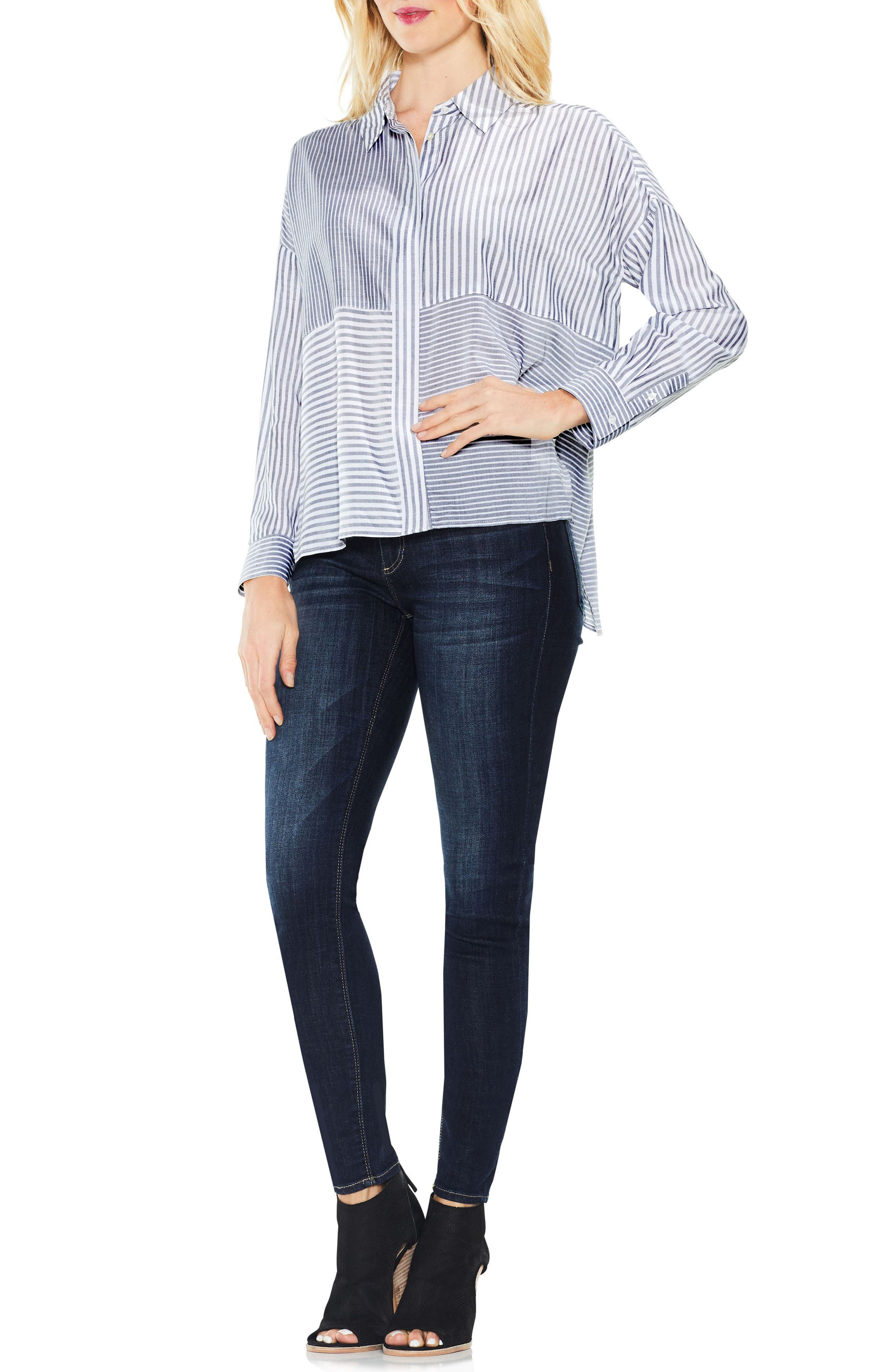 Two by Vince Camuto Mix Stripe Button Down Shirt,                             Alternate thumbnail 3, color,                             Blue Night