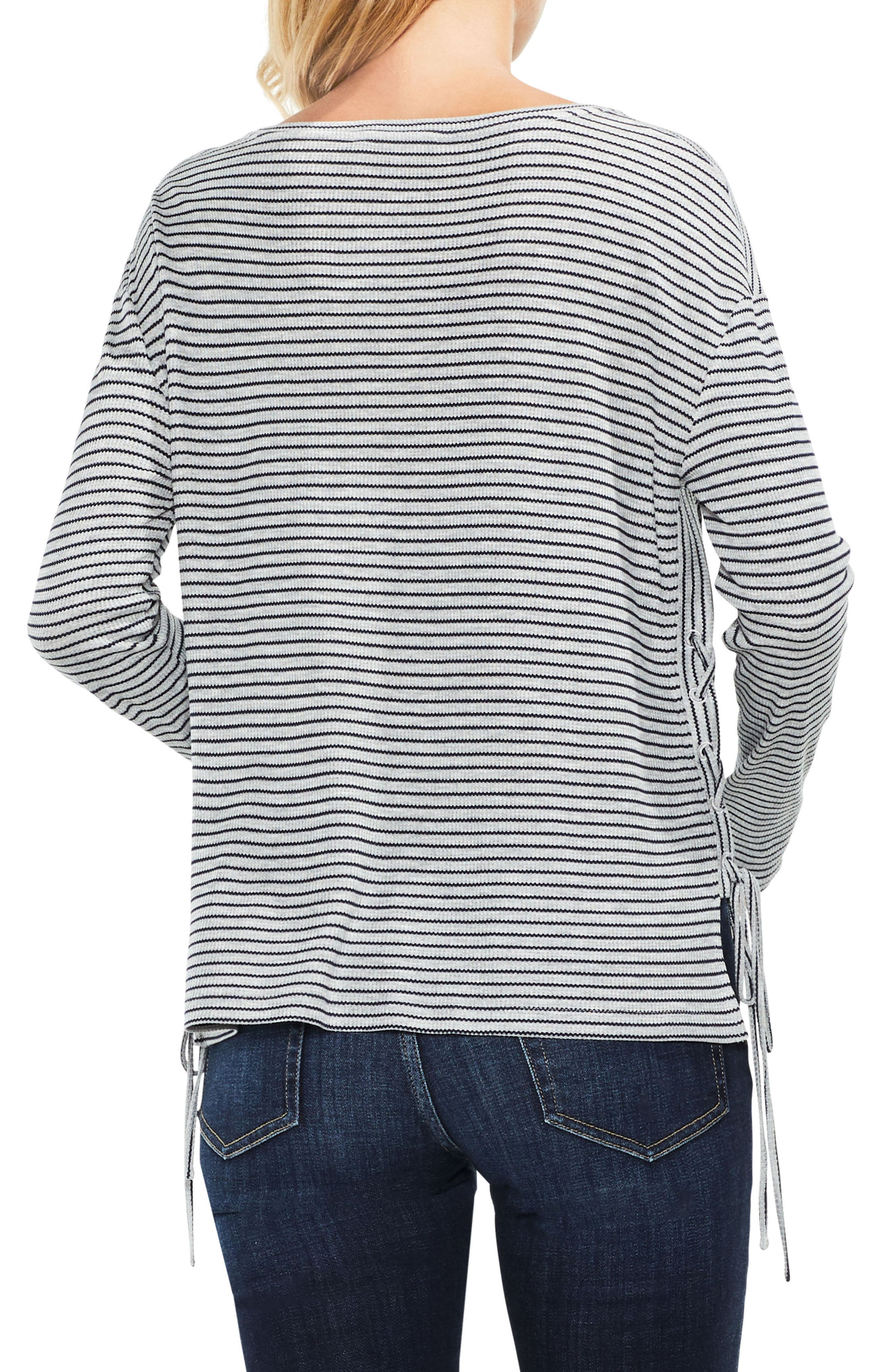 Lace-Up Side Stripe Top,                             Alternate thumbnail 4, color,                             Light Heather Grey
