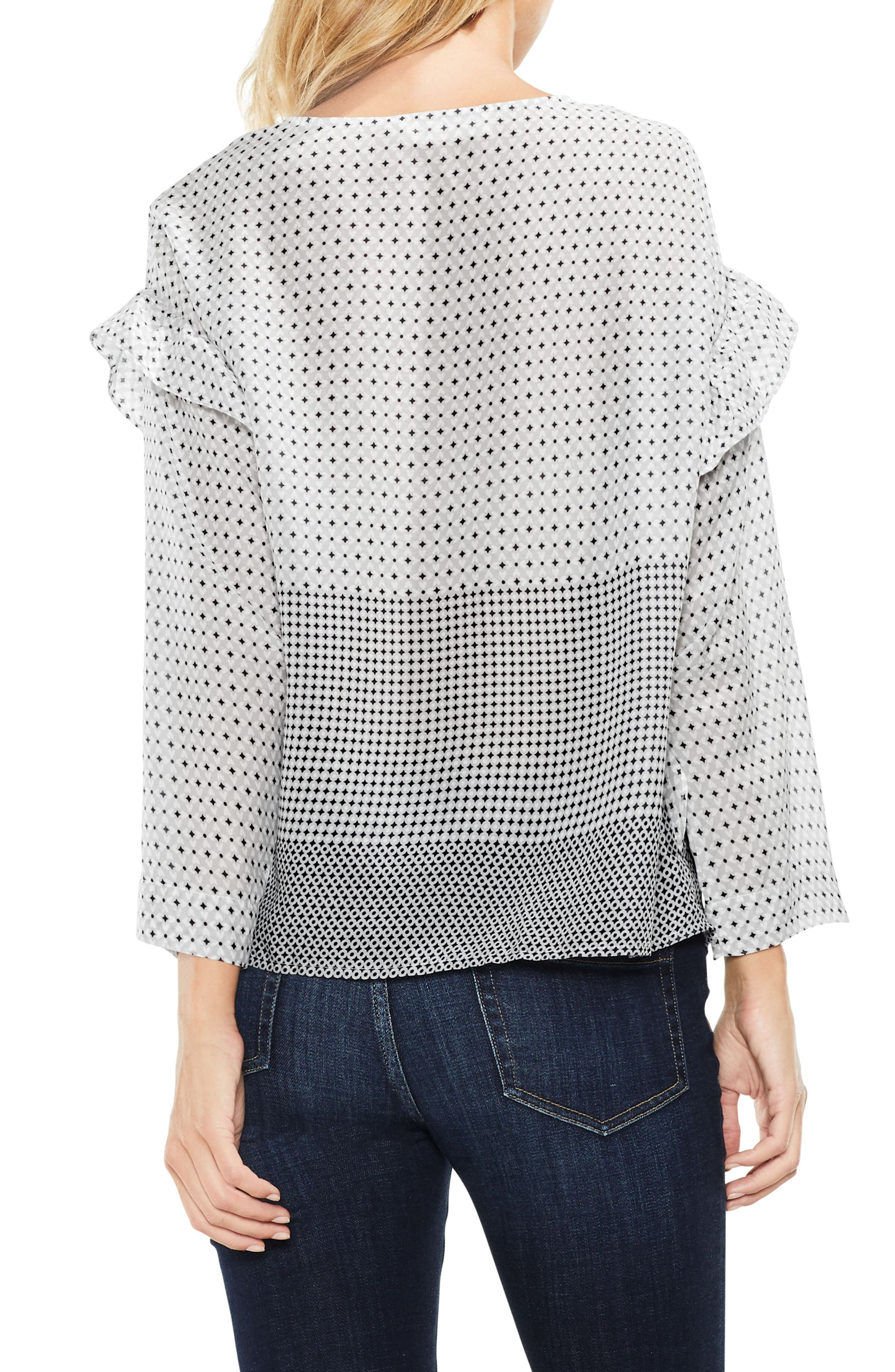 Two by VInce Camuto Quiet Tile Border Ruffle Top,                             Alternate thumbnail 2, color,                             Magnet