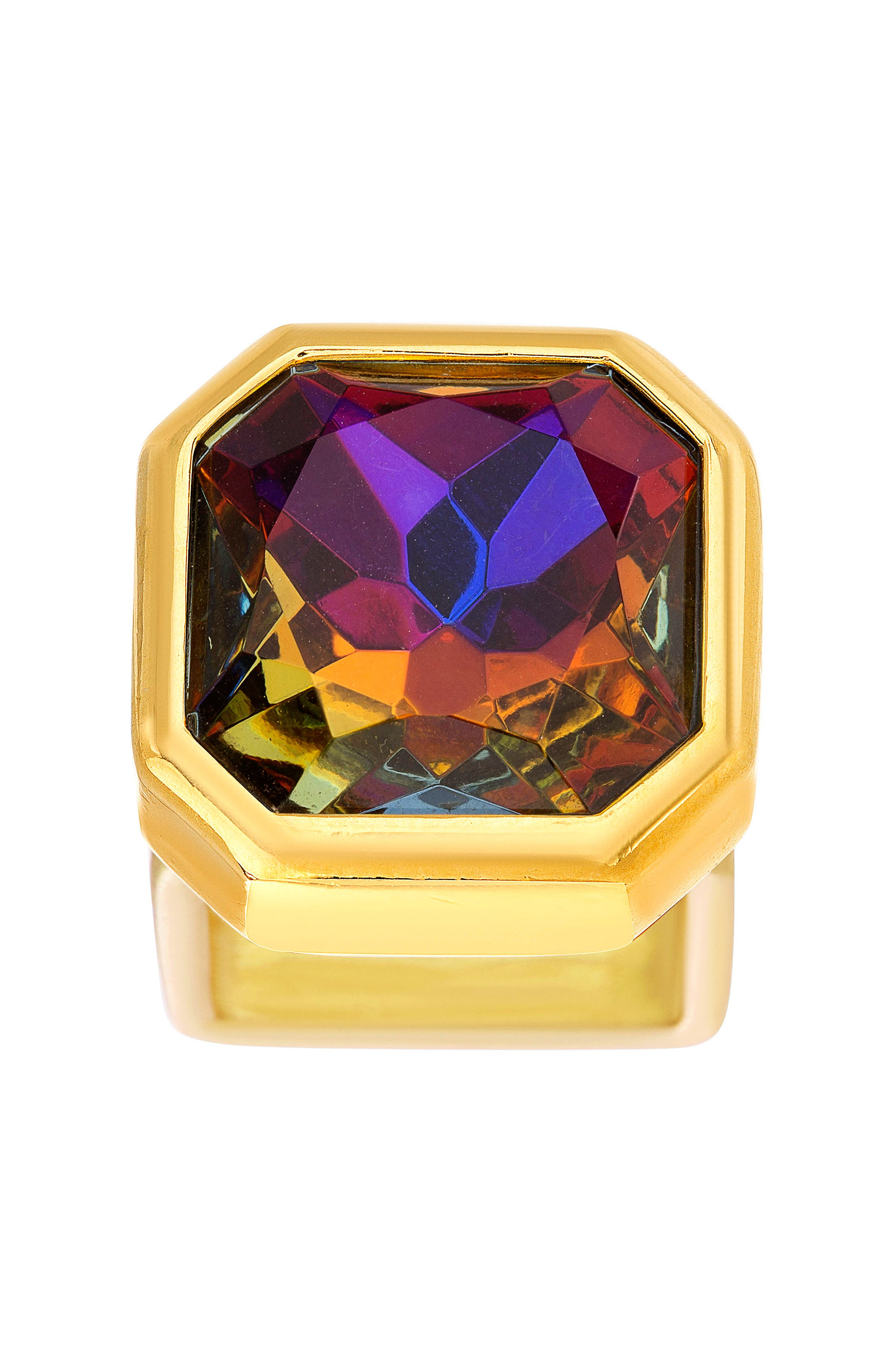 Square Crystal Ring,                             Alternate thumbnail 2, color,                             Gold