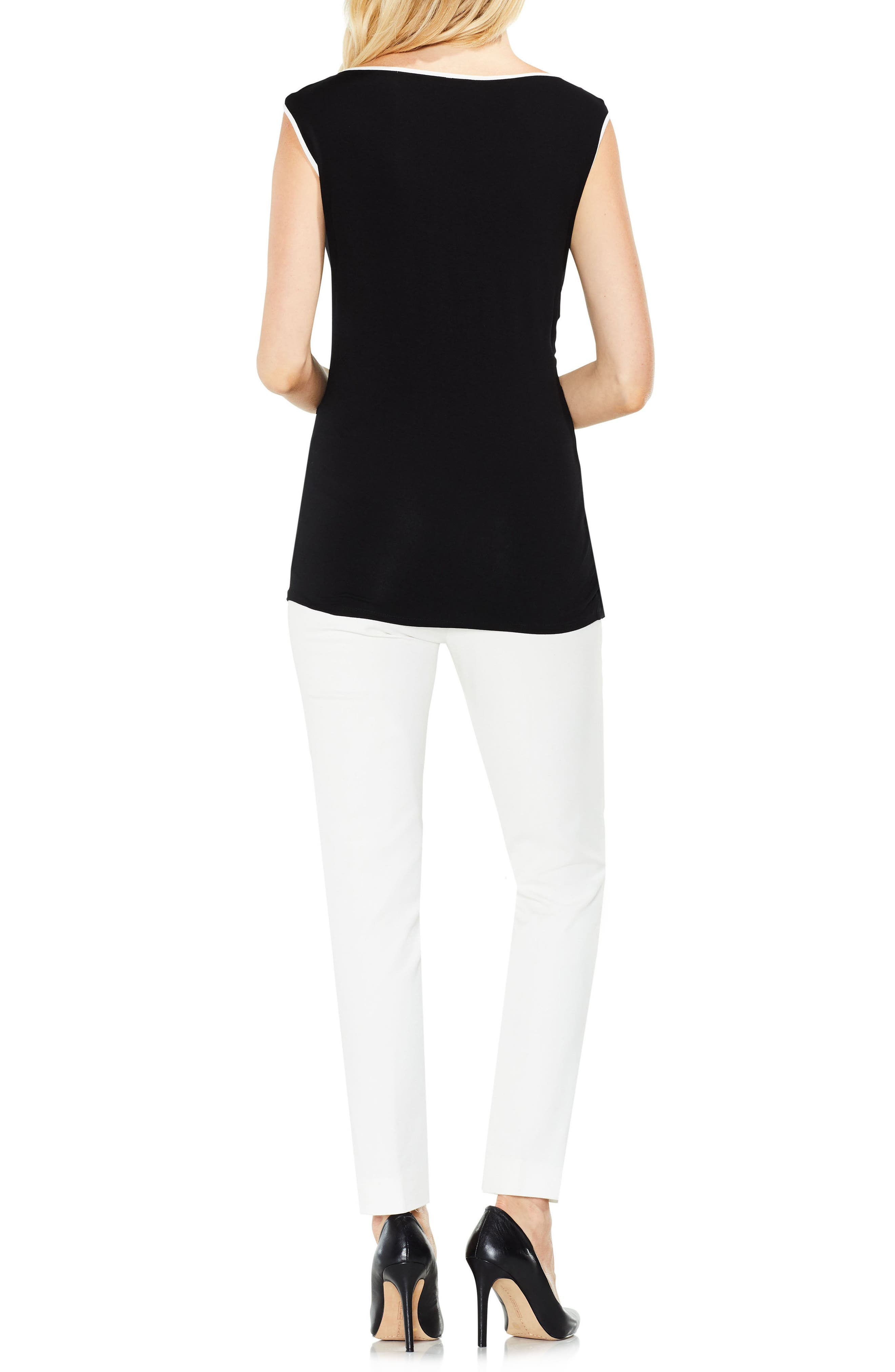 Side Ruched Top,                             Alternate thumbnail 4, color,                             Rich Black
