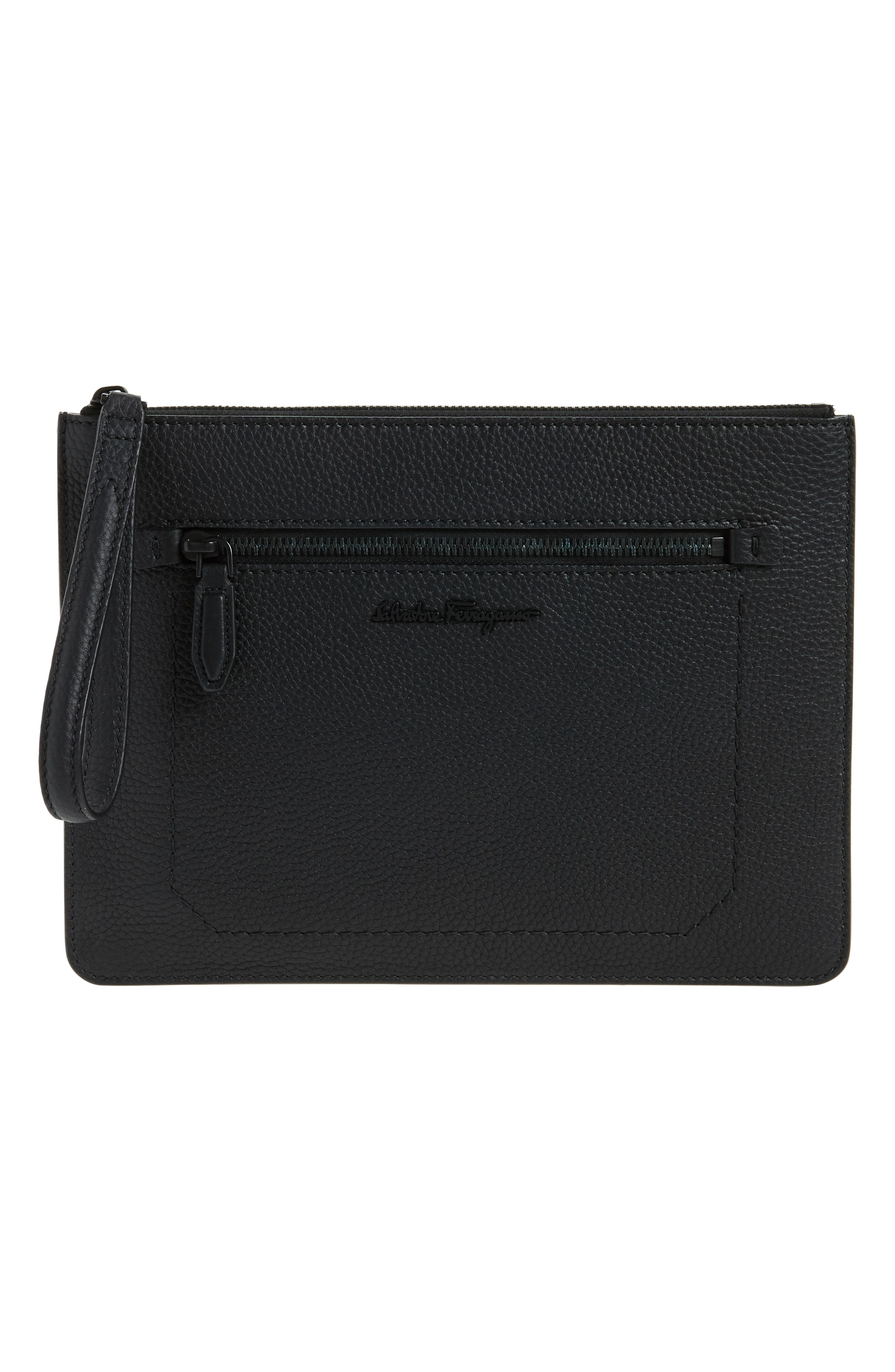 Calfskin Leather Portfolio,                             Main thumbnail 1, color,                             Black