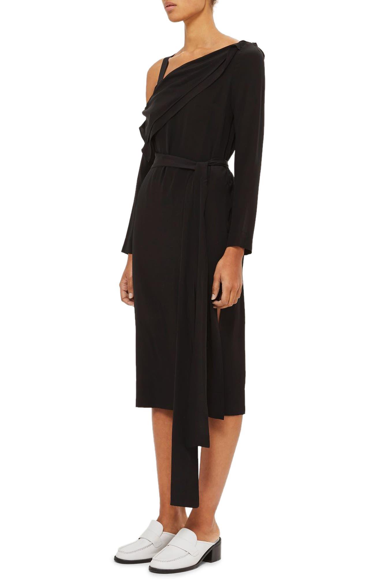 Off the Shoulder Silk Drape Dress,                             Alternate thumbnail 3, color,                             Black