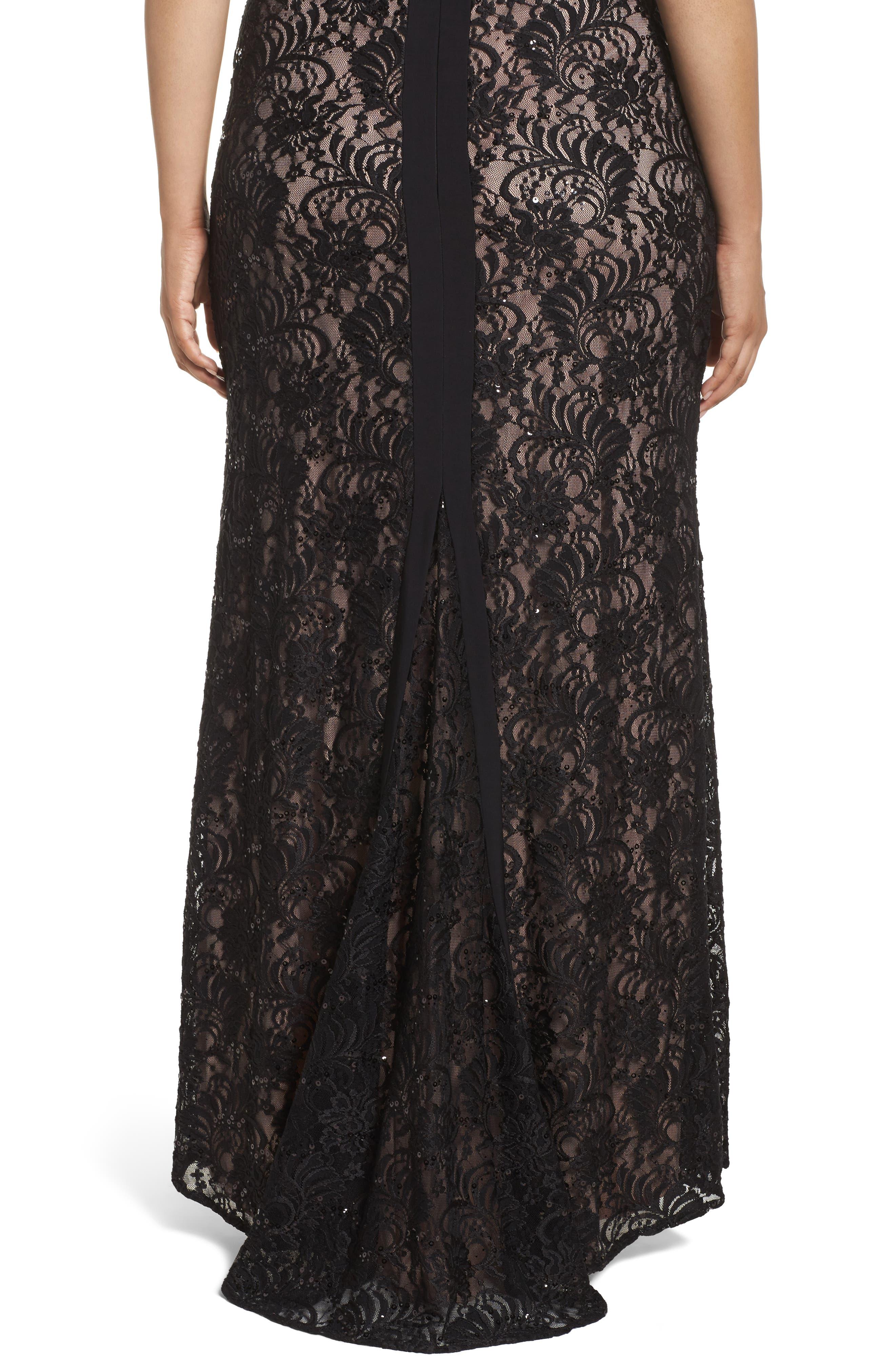 Lace Square Neck Gown,                             Alternate thumbnail 4, color,                             Black/ Nude