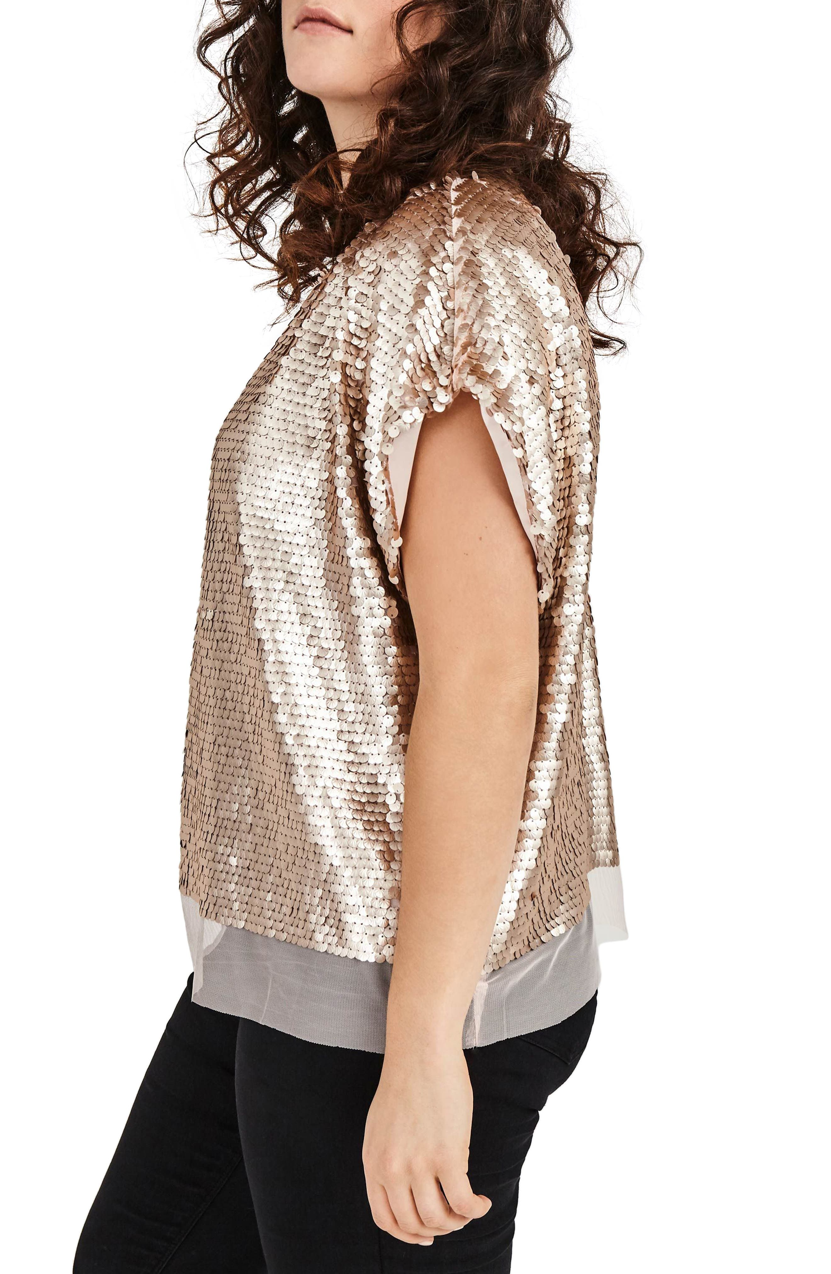 Nude Sequin Boxy Top,                             Alternate thumbnail 3, color,                             Nude