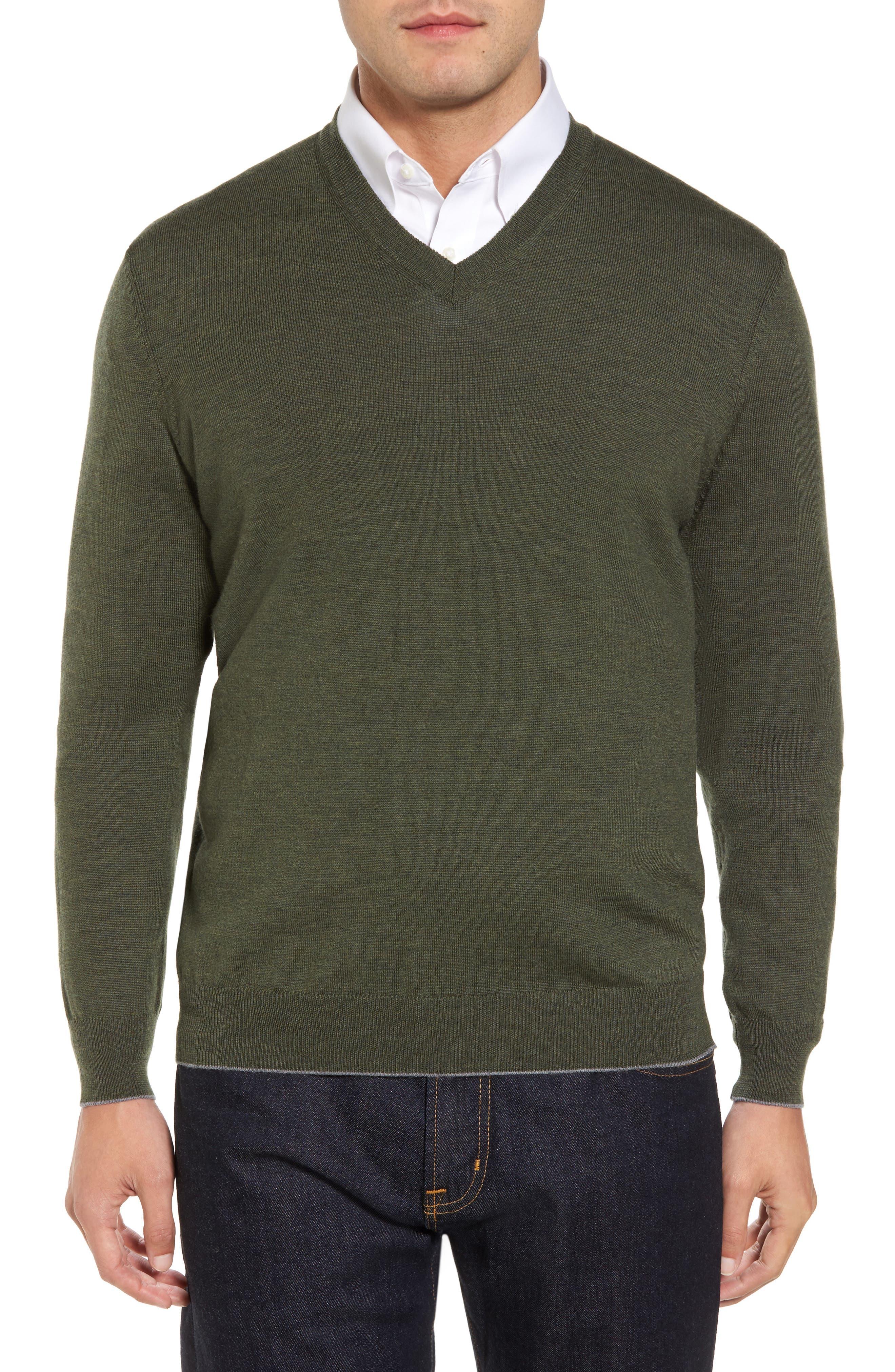 Main Image - Thomas Dean Merino Wool Blend V-Neck Sweater