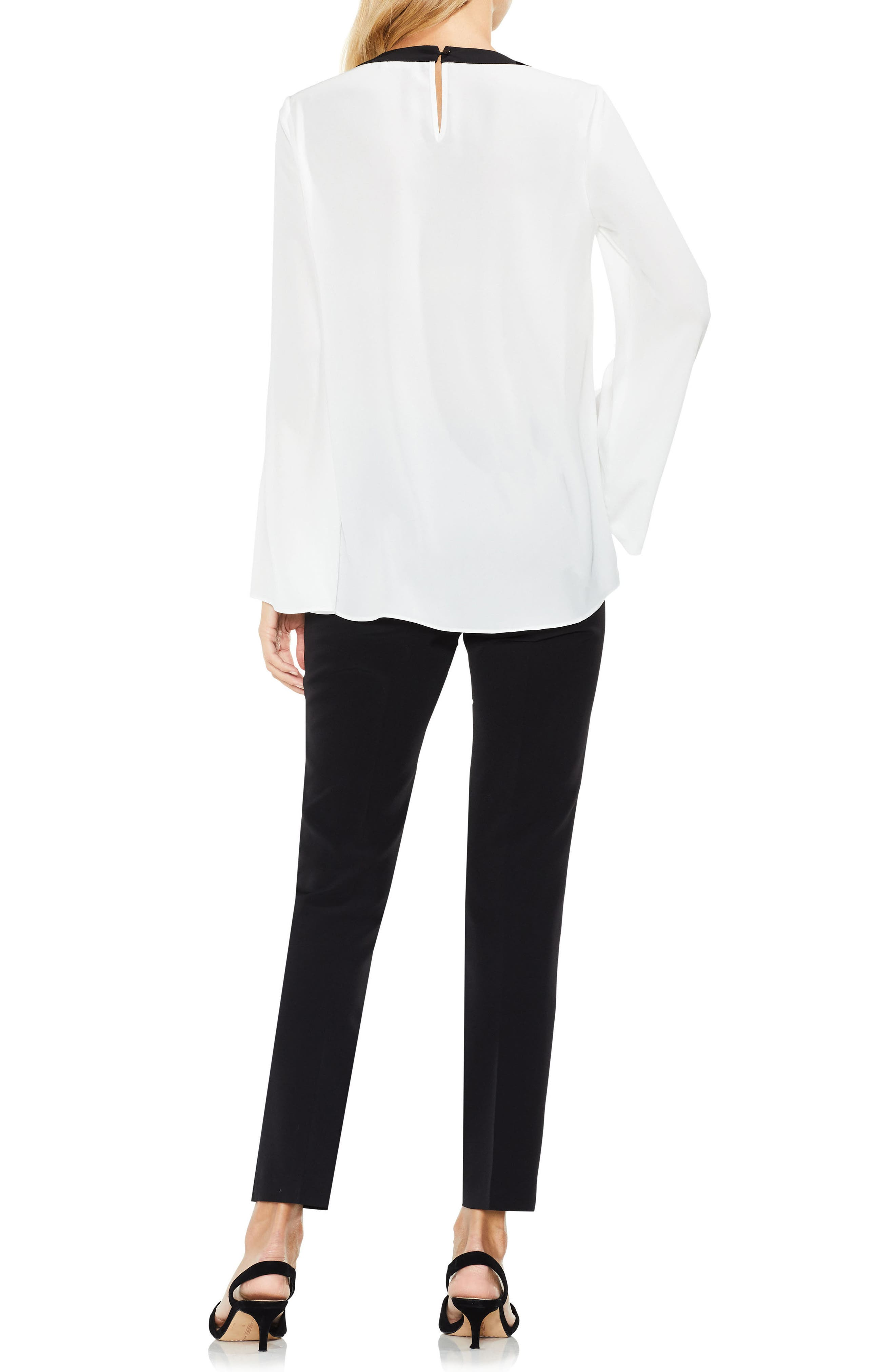 Contrast Trim Bell Sleeve Blouse,                             Alternate thumbnail 4, color,                             New Ivory