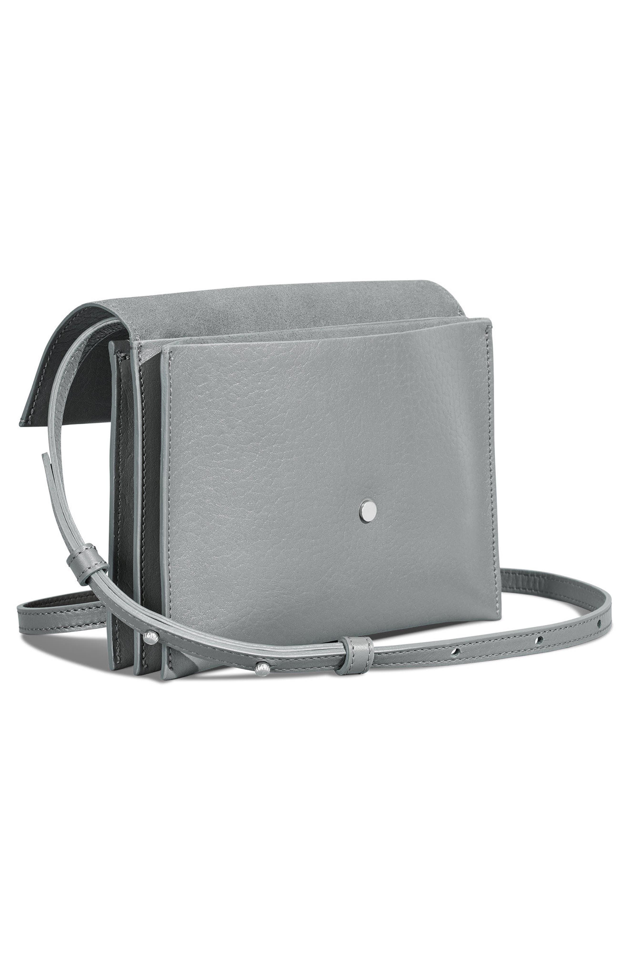 Crossbody Leather Bag,                             Alternate thumbnail 4, color,                             Cool Grey