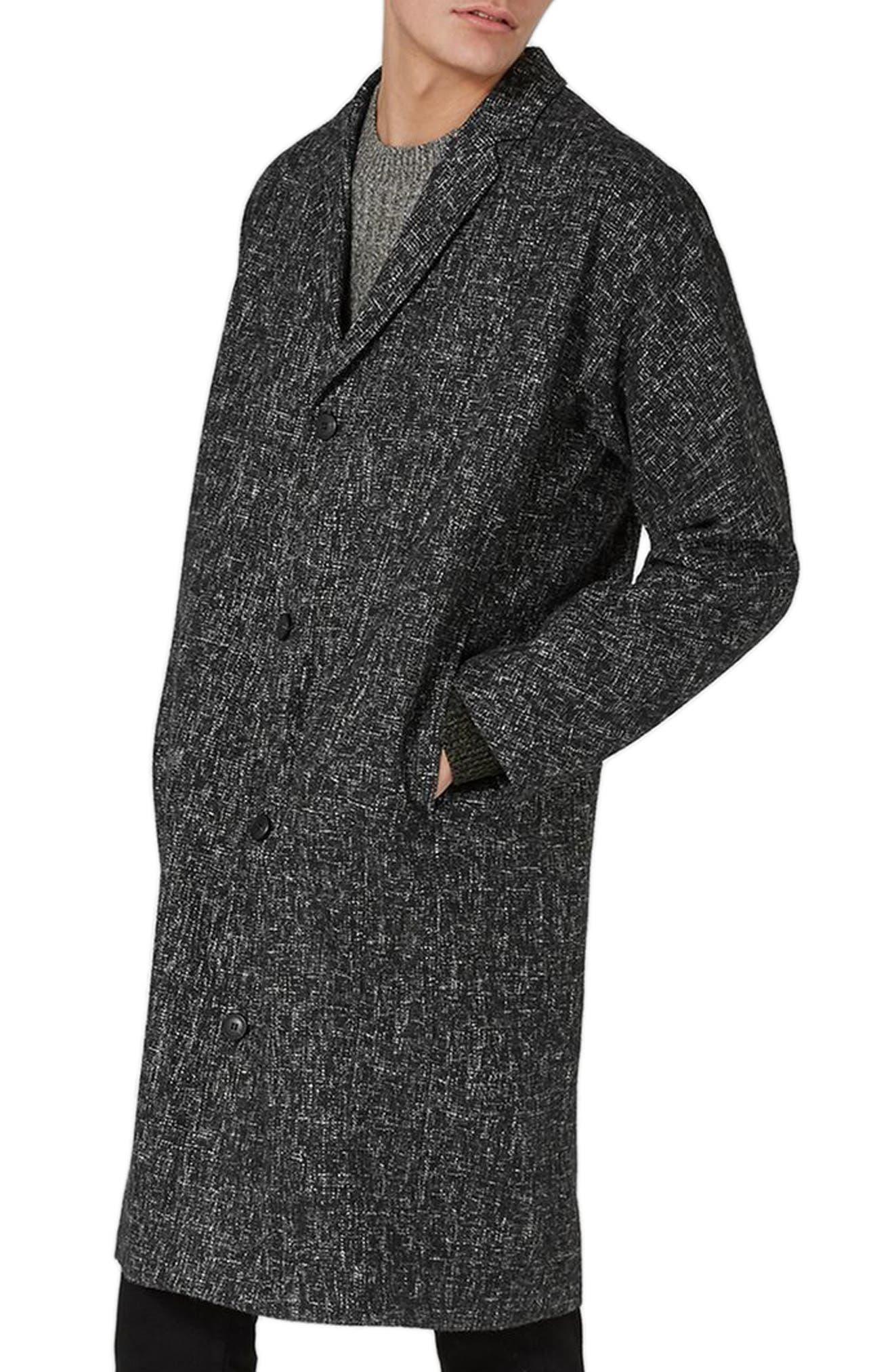 Textured Oversize Overcoat,                         Main,                         color, Black