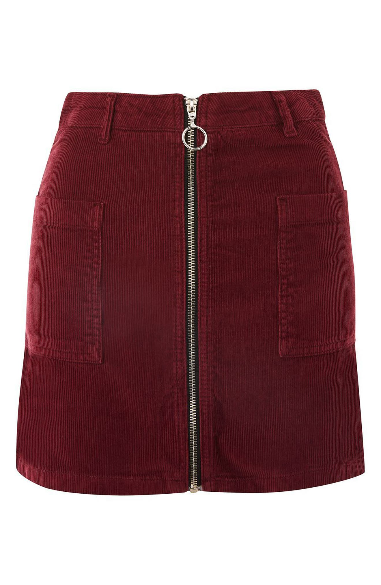 Zip Through Corduroy Skirt,                             Alternate thumbnail 3, color,                             Burgundy