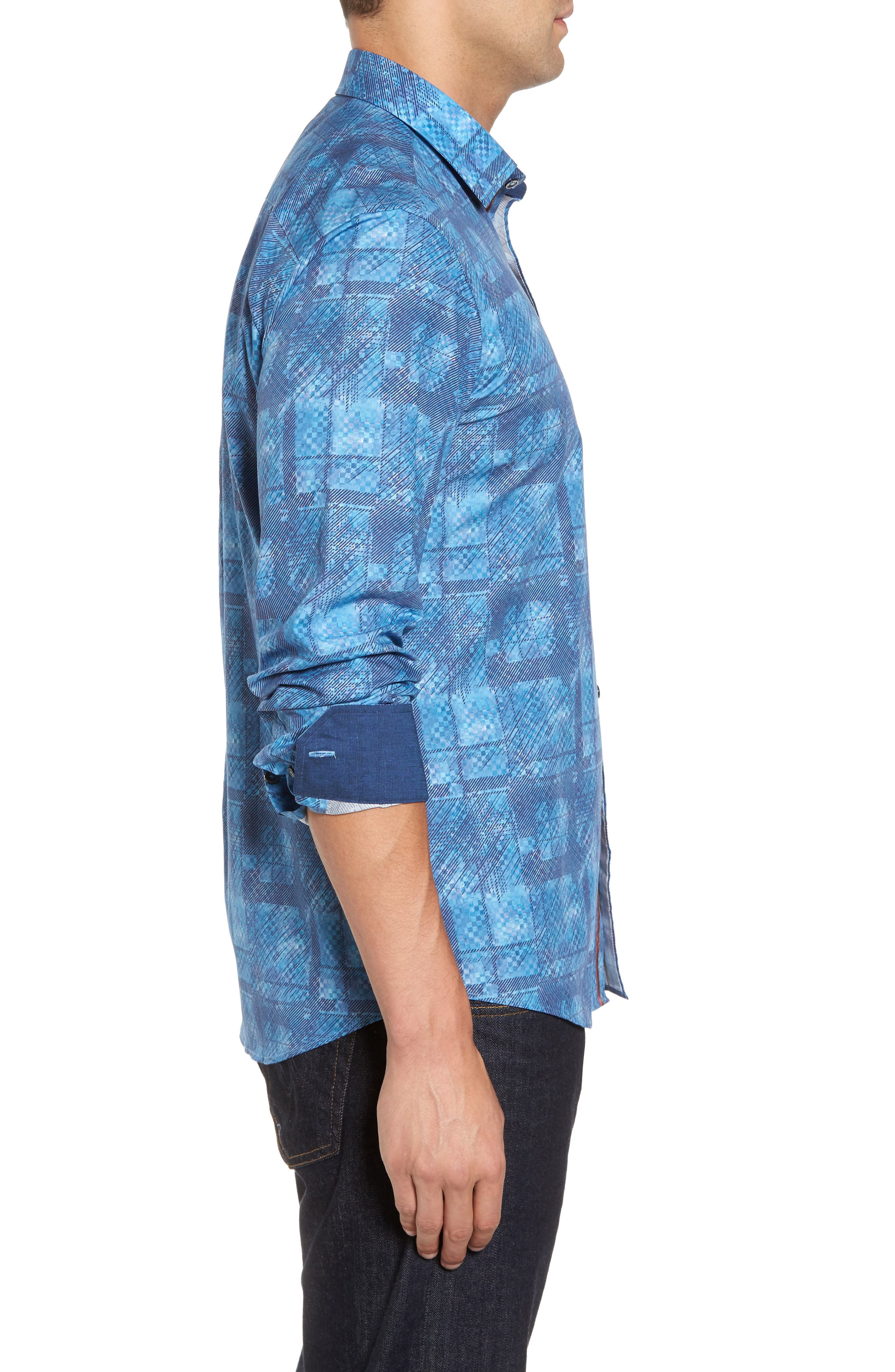 Shaped Fit Print Sport Shirt,                             Alternate thumbnail 3, color,                             Turquoise