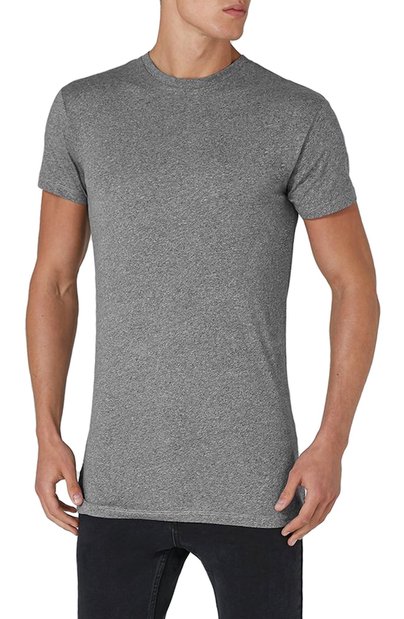 Muscle Fit Longline T-Shirt,                         Main,                         color, Grey