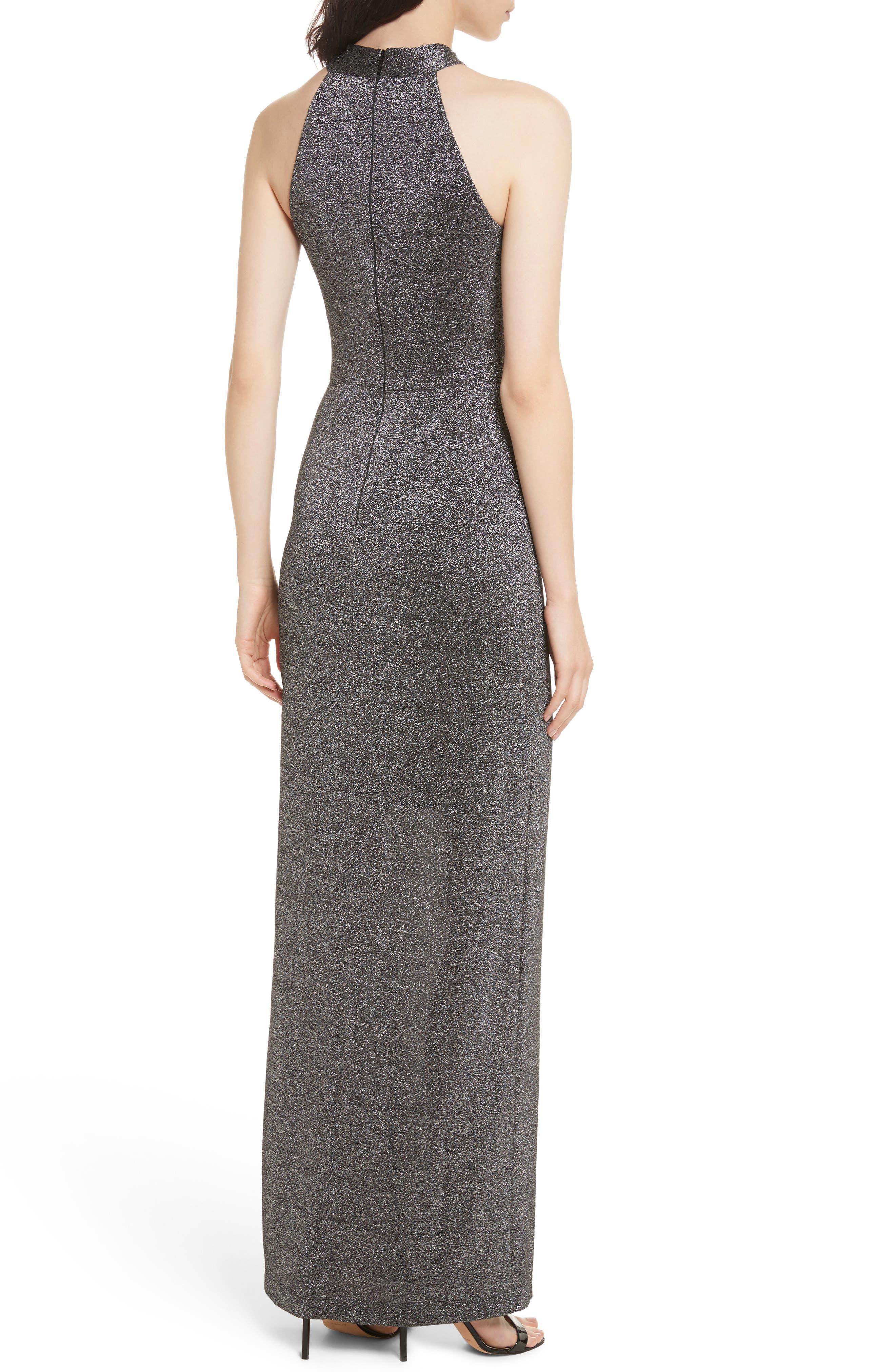 Metallic Knit Maxi Dress,                             Alternate thumbnail 2, color,                             Black