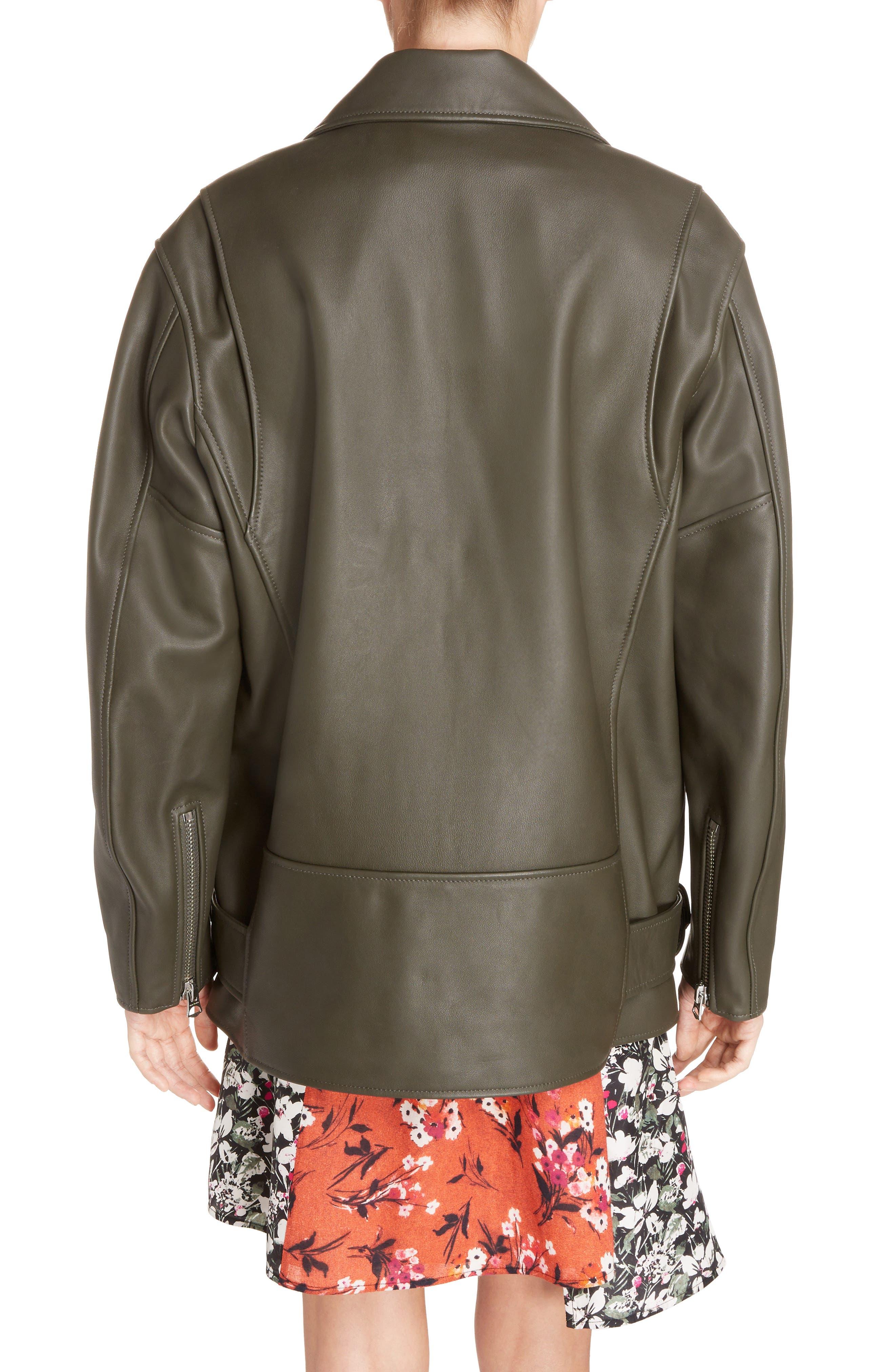 Myrtle Leather Jacket,                             Alternate thumbnail 4, color,                             Dark Khaki