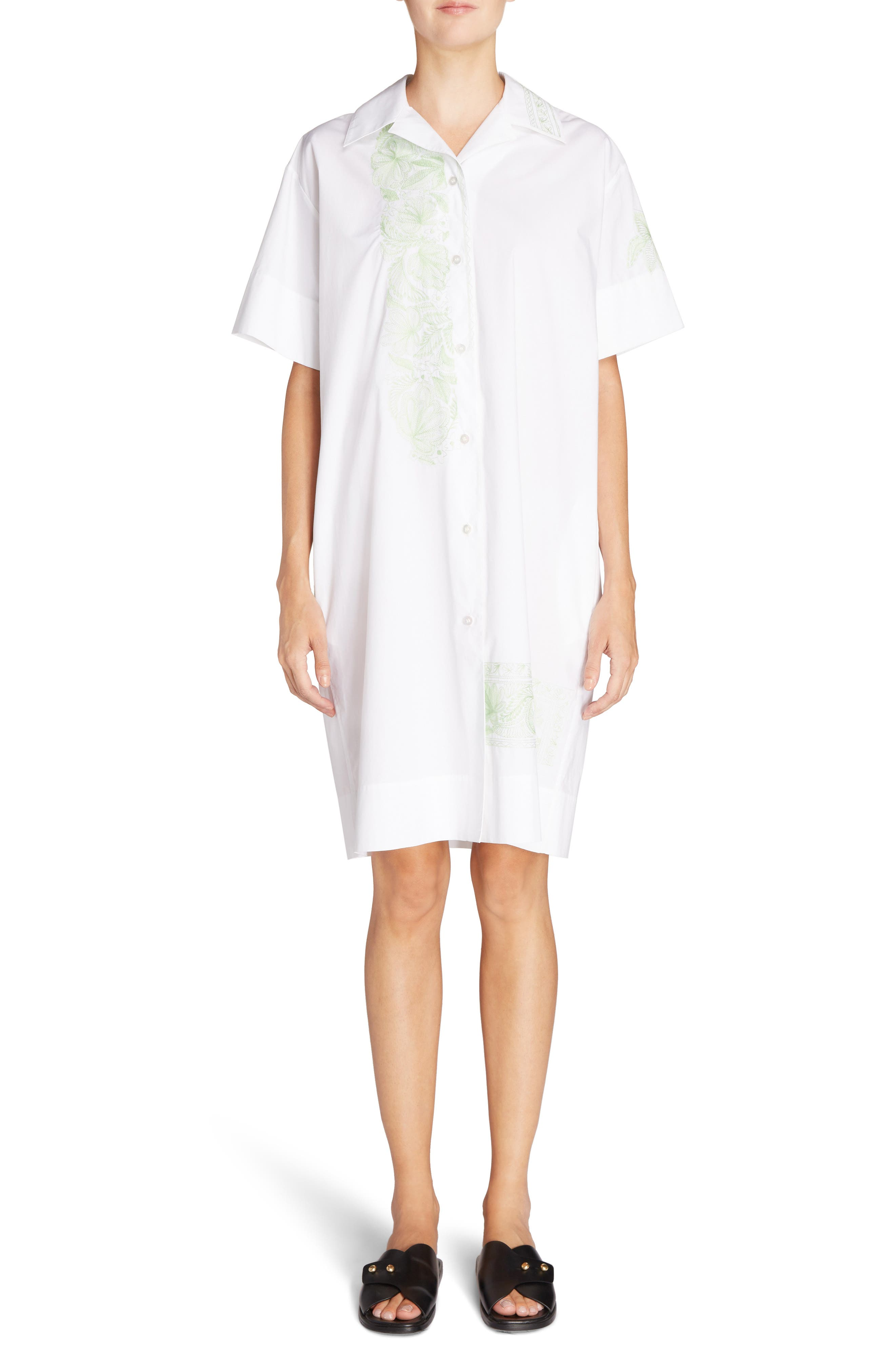 Jusso Embroidered Shirtdress,                             Main thumbnail 1, color,                             White