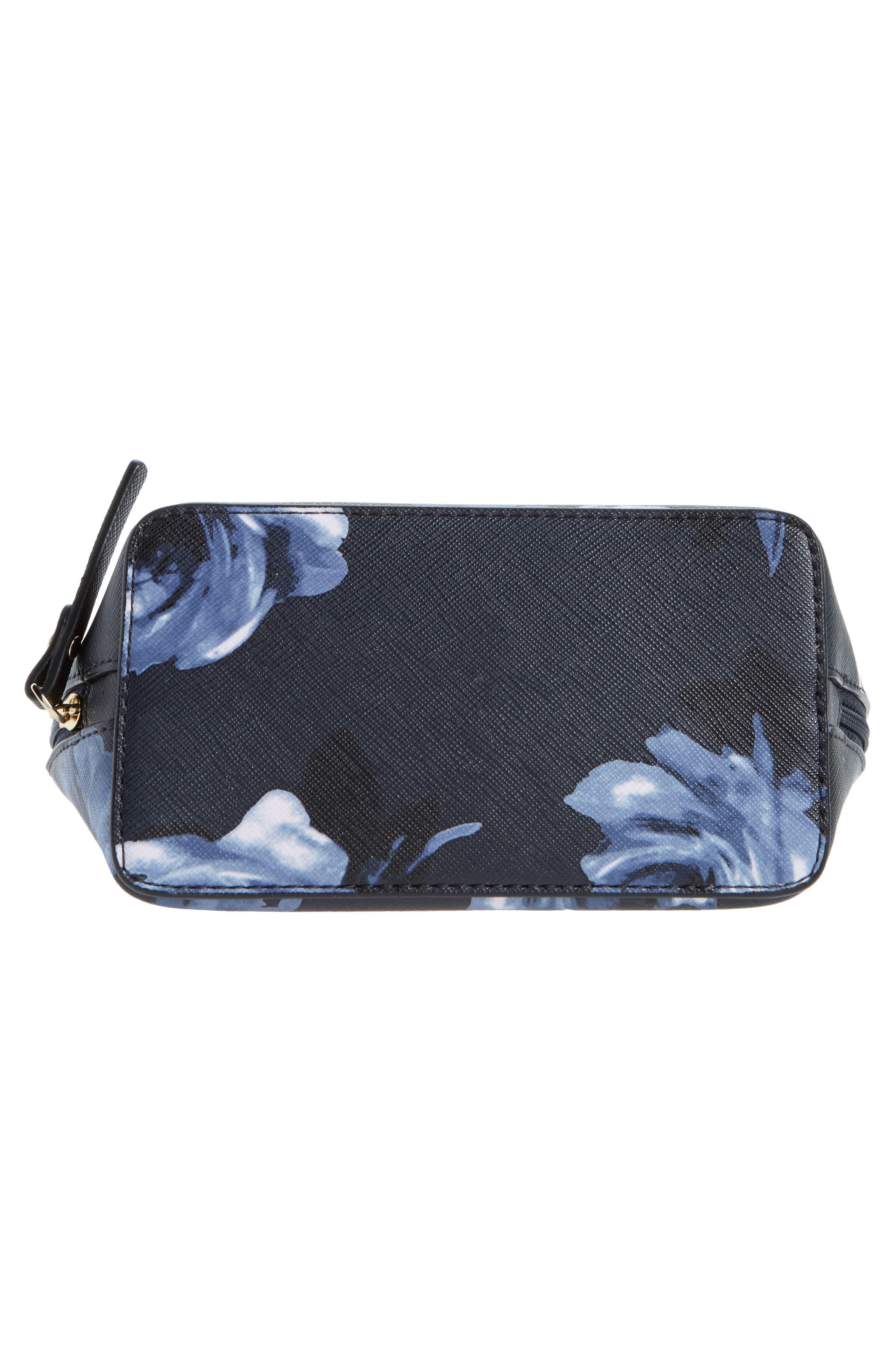 cameron street night rose - small abalene cosmetics bag,                             Alternate thumbnail 5, color,                             Rich Navy Multi