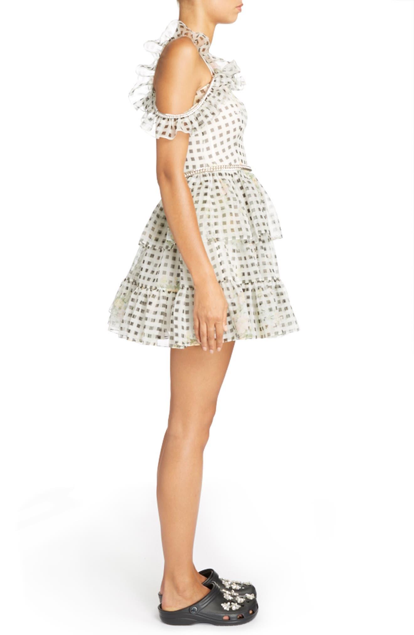 Alternate Image 3  - Christopher Kane Check Print Off the Shoulder Silk Mini Dress