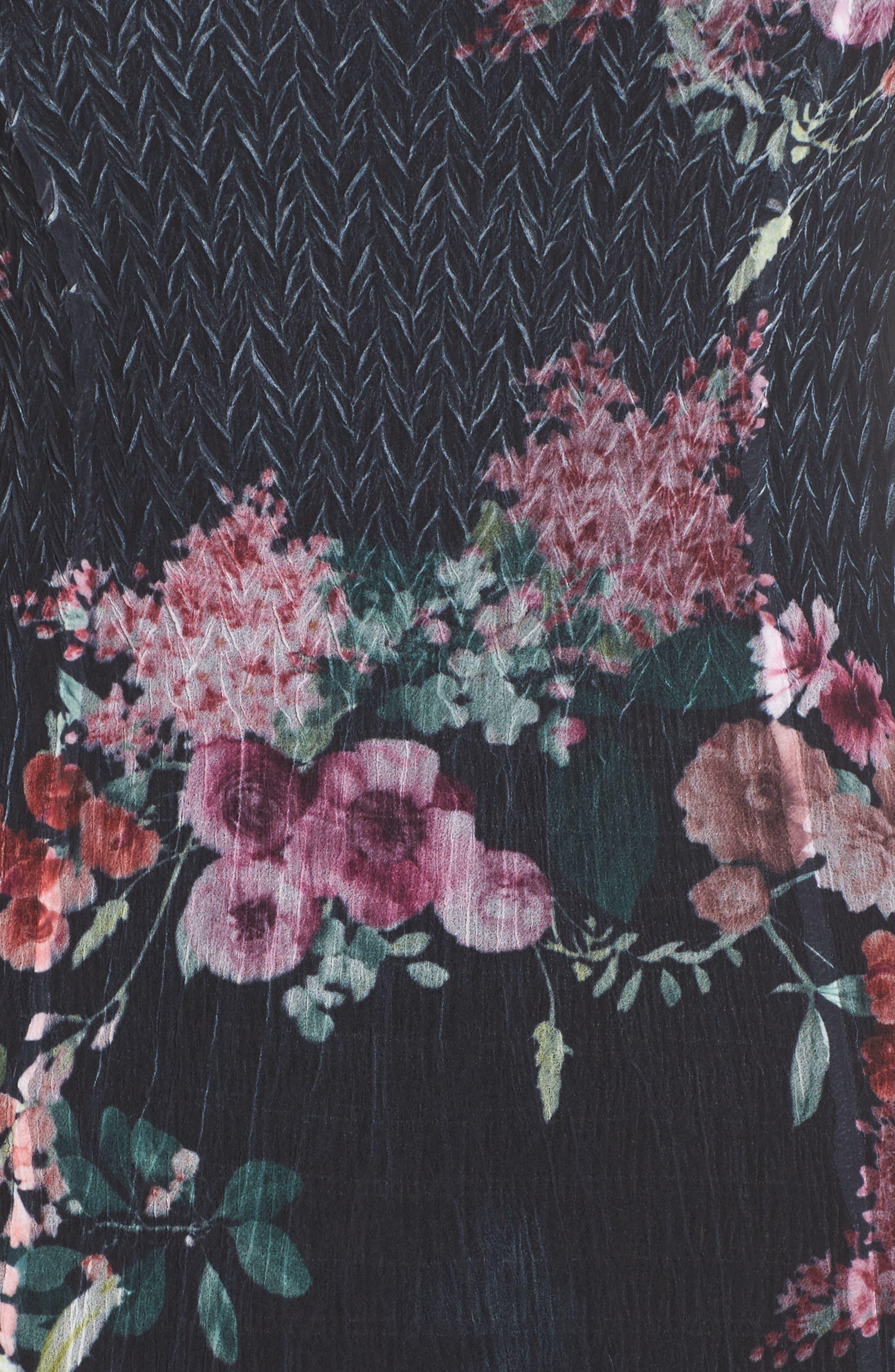Floral A-Line Dress,                             Alternate thumbnail 5, color,                             Evening Garden