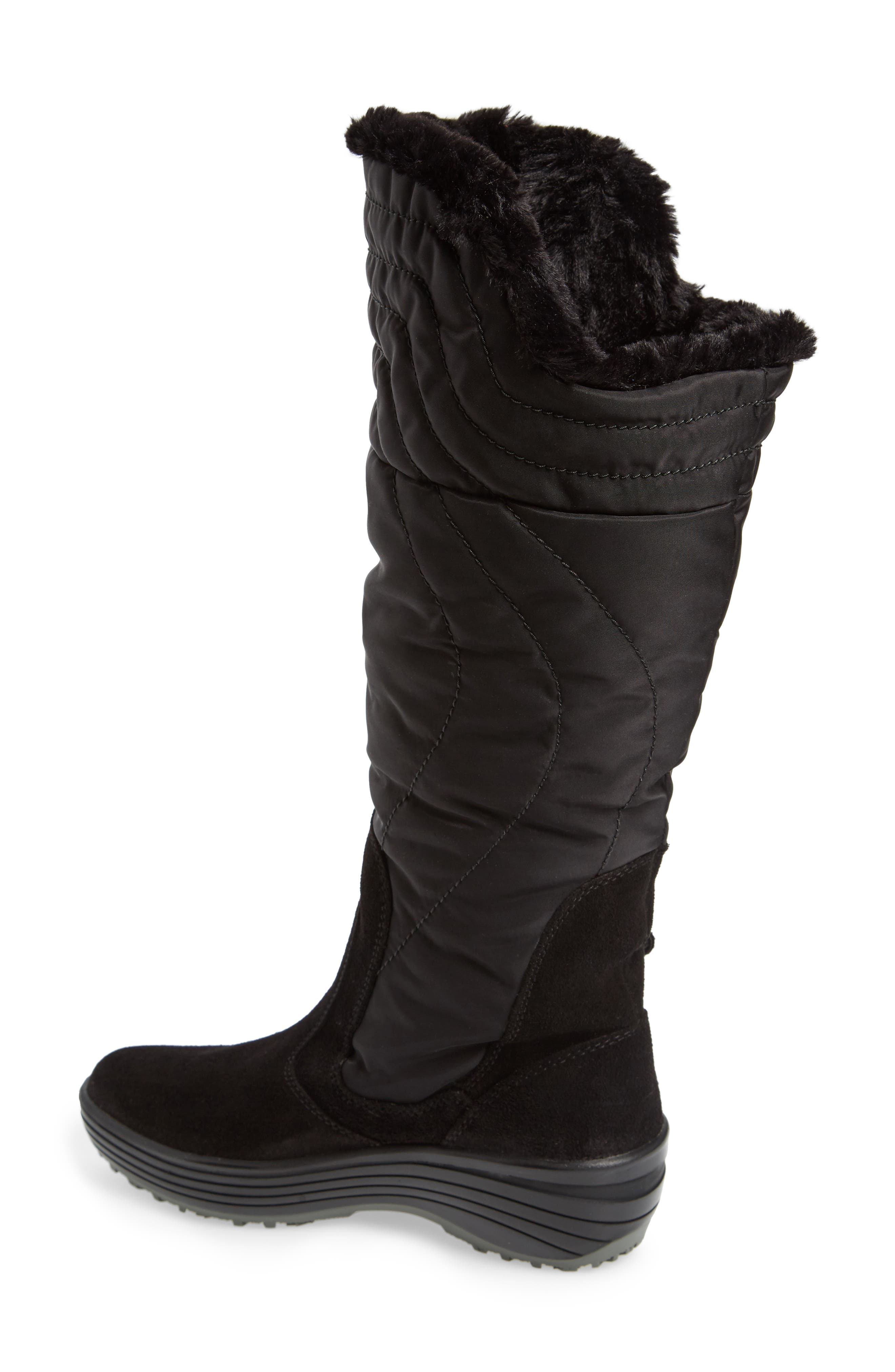 Natasha Faux Fur Lined Waterproof Boot,                             Alternate thumbnail 2, color,                             Black Suede