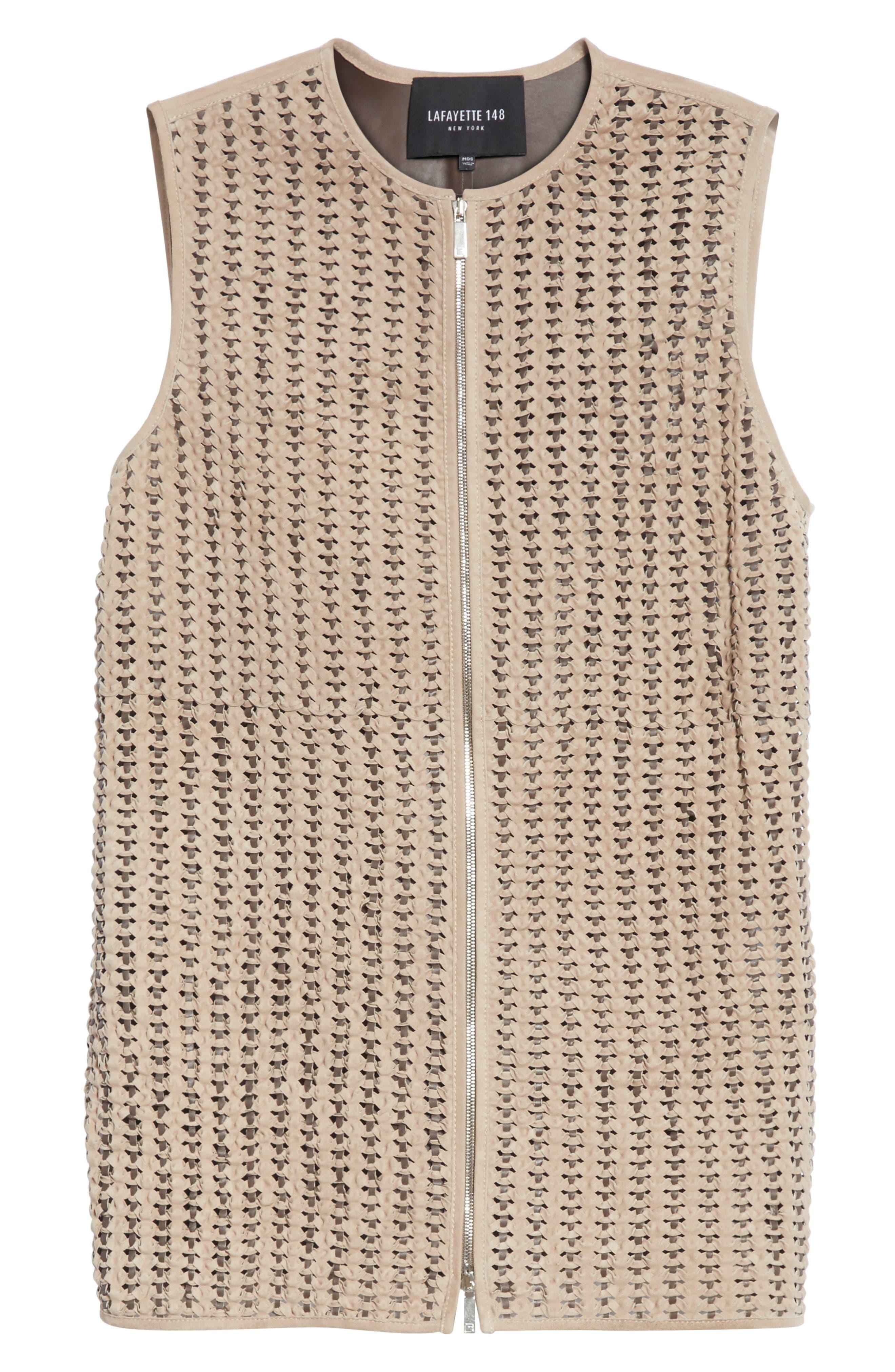 Laritza Braided Leather Vest,                             Alternate thumbnail 6, color,                             Osprey