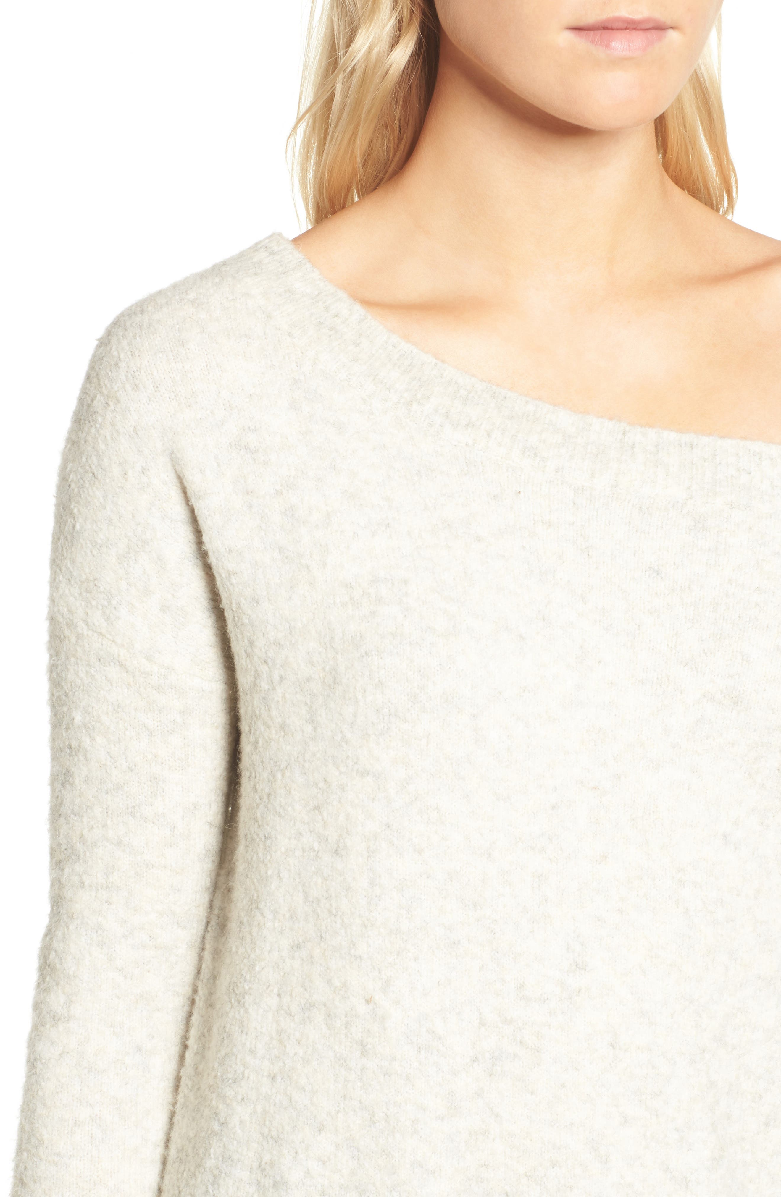 Alternate Image 4  - French Connection Urban Flossy One-Shoulder Sweater