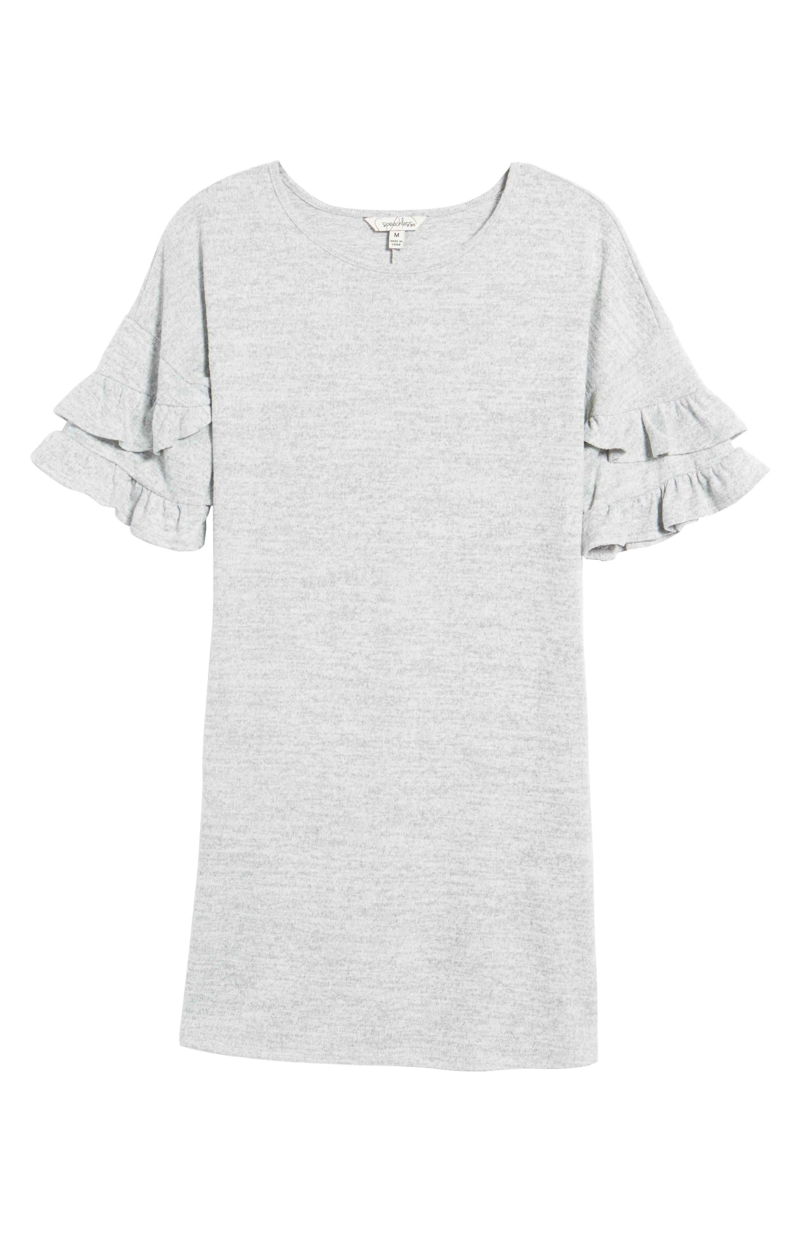 Ruffle Sleeve Sweatshirt Dress,                             Alternate thumbnail 6, color,                             Heather Grey