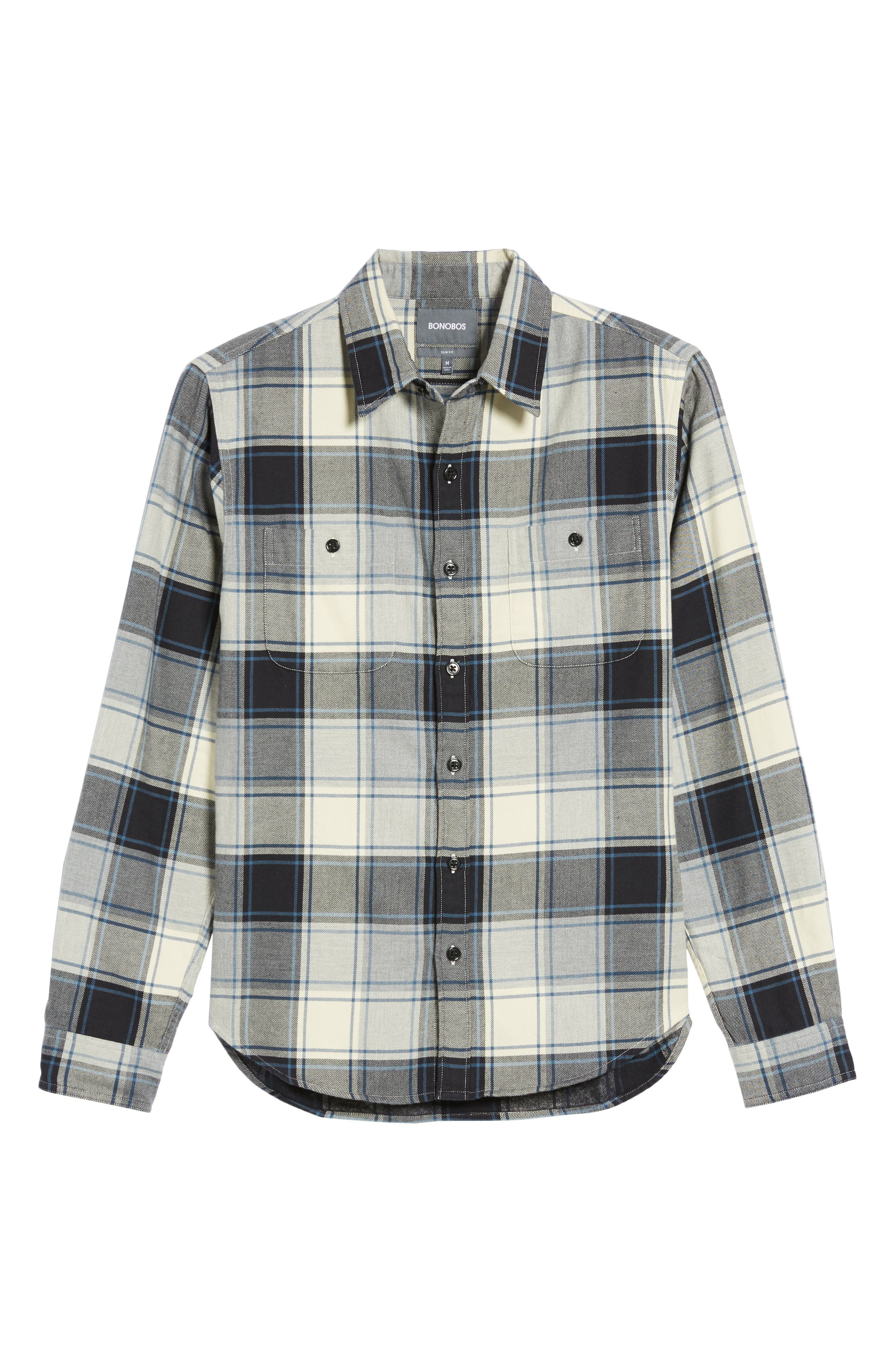 Slim Fit Plaid Flannel Shirt,                             Alternate thumbnail 6, color,                             House Flannel/ Real Teal